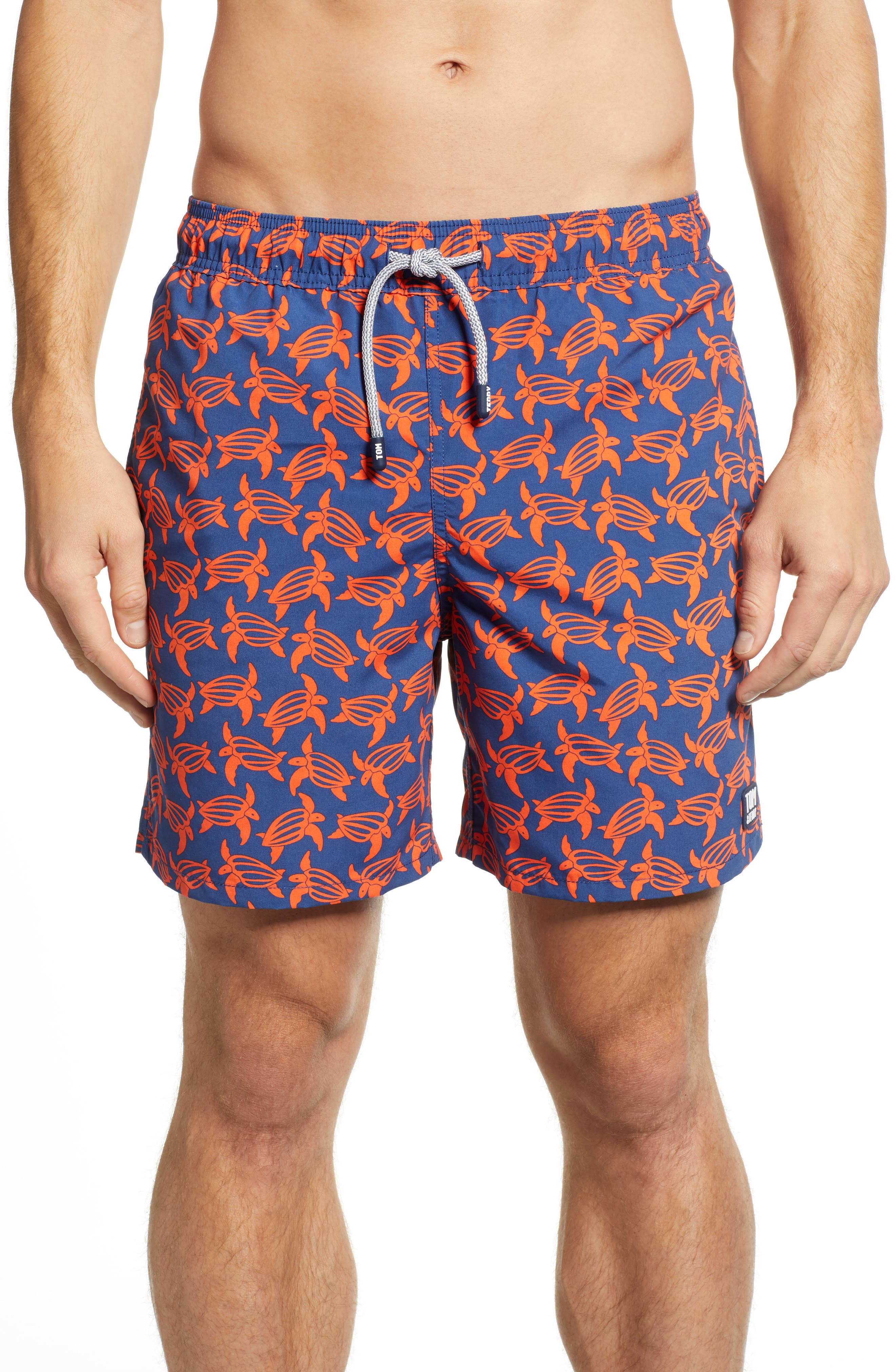 Turtle Print Swim Trunks,                         Main,                         color, NAVY/ ORANGE