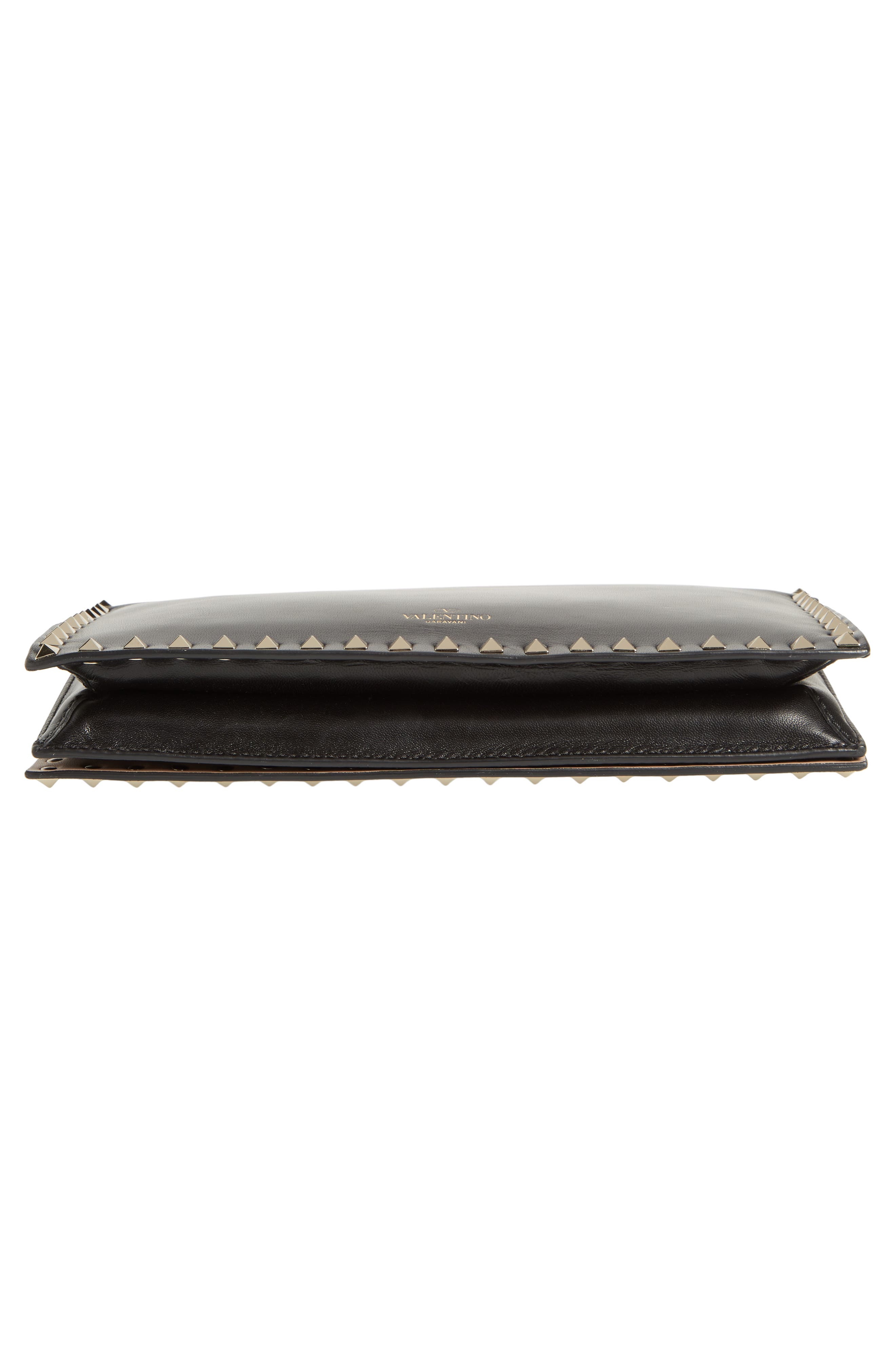 'Rockstud' Calfskin Leather Clutch,                             Alternate thumbnail 6, color,                             BLACK
