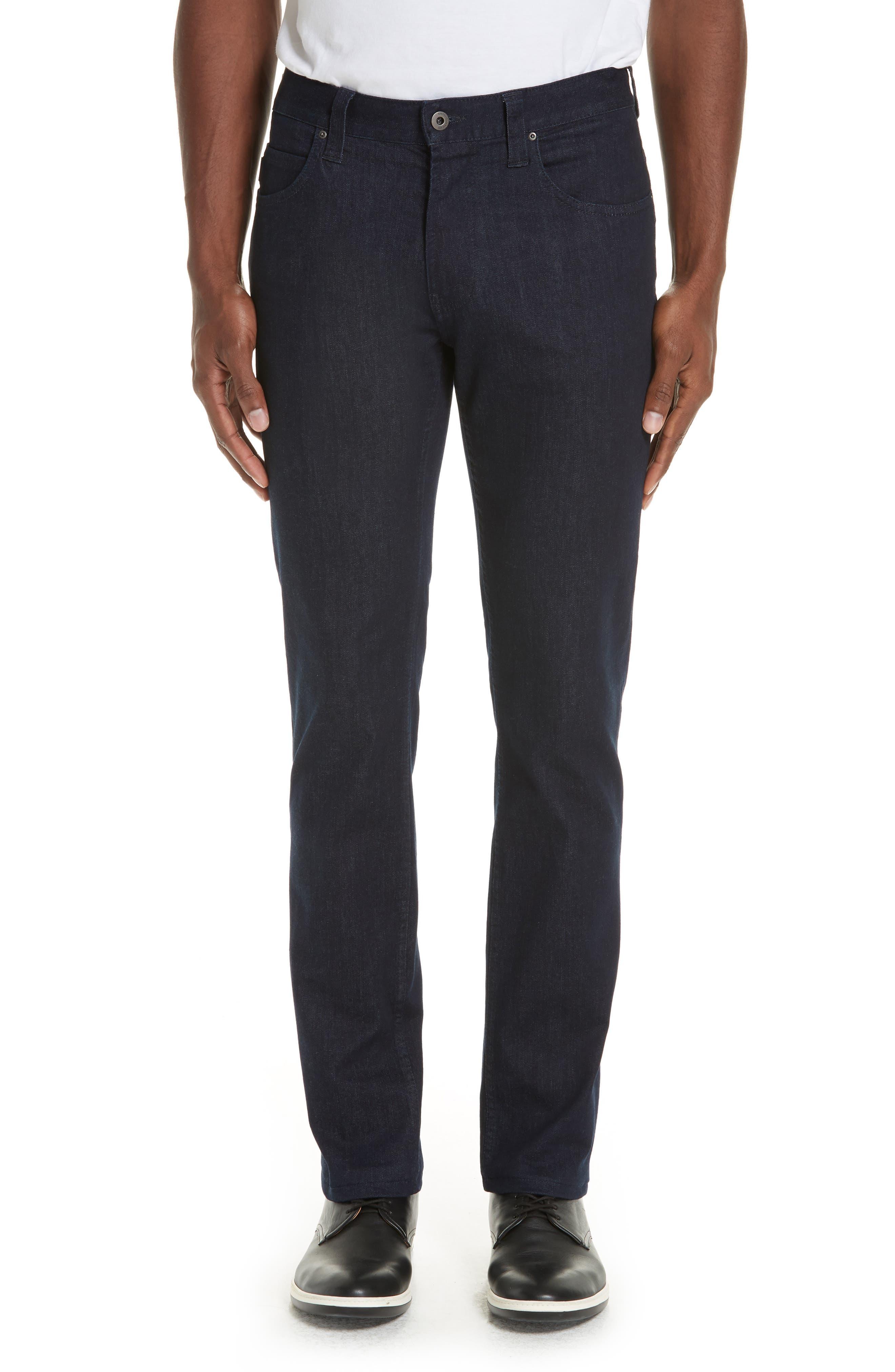 Straight Leg Stretch Jeans,                         Main,                         color, DARK BLUE