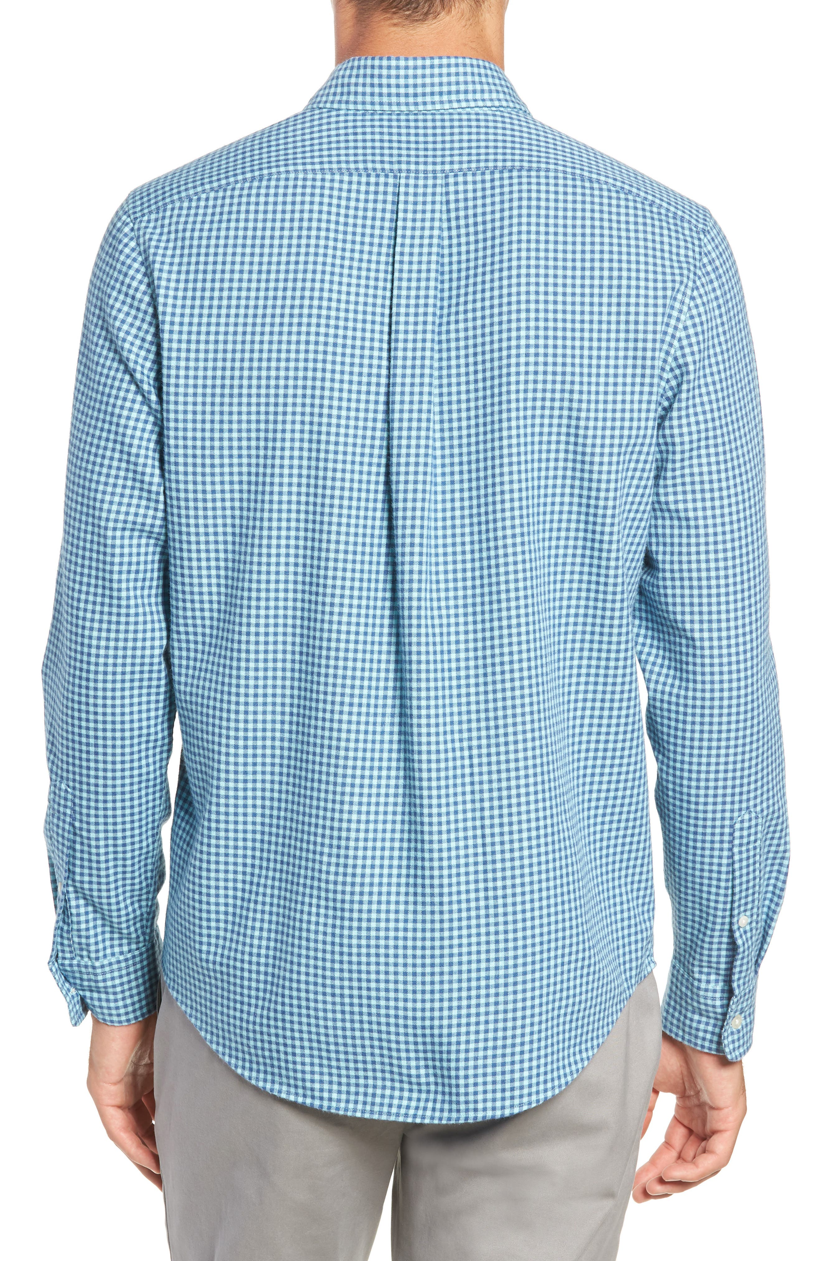 Tradewinds Slim Fit Check Flannel Shirt,                             Alternate thumbnail 3, color,                             POOL SIDE