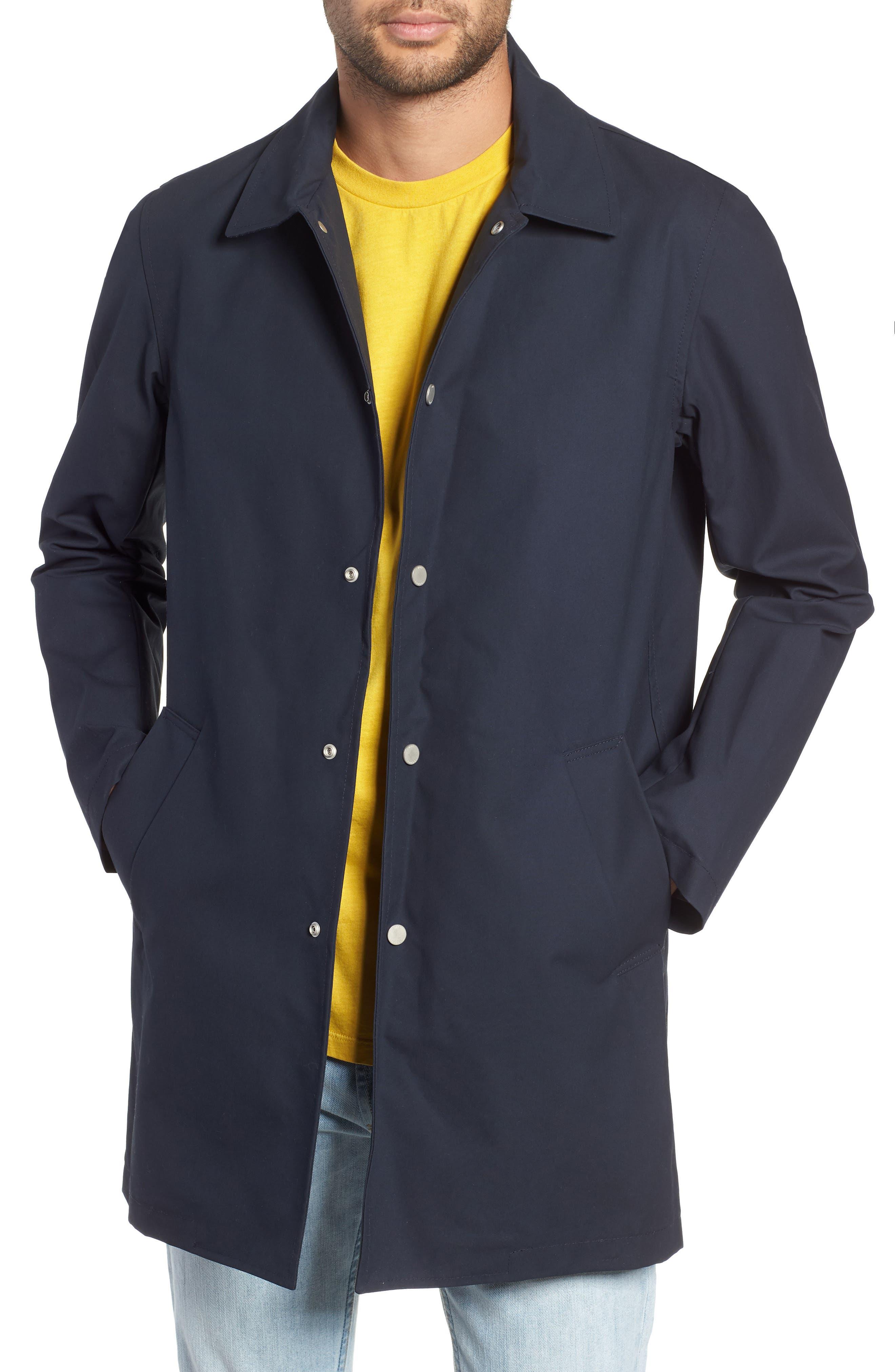 Navarino Waxed Mac Jacket,                         Main,                         color, NAVY