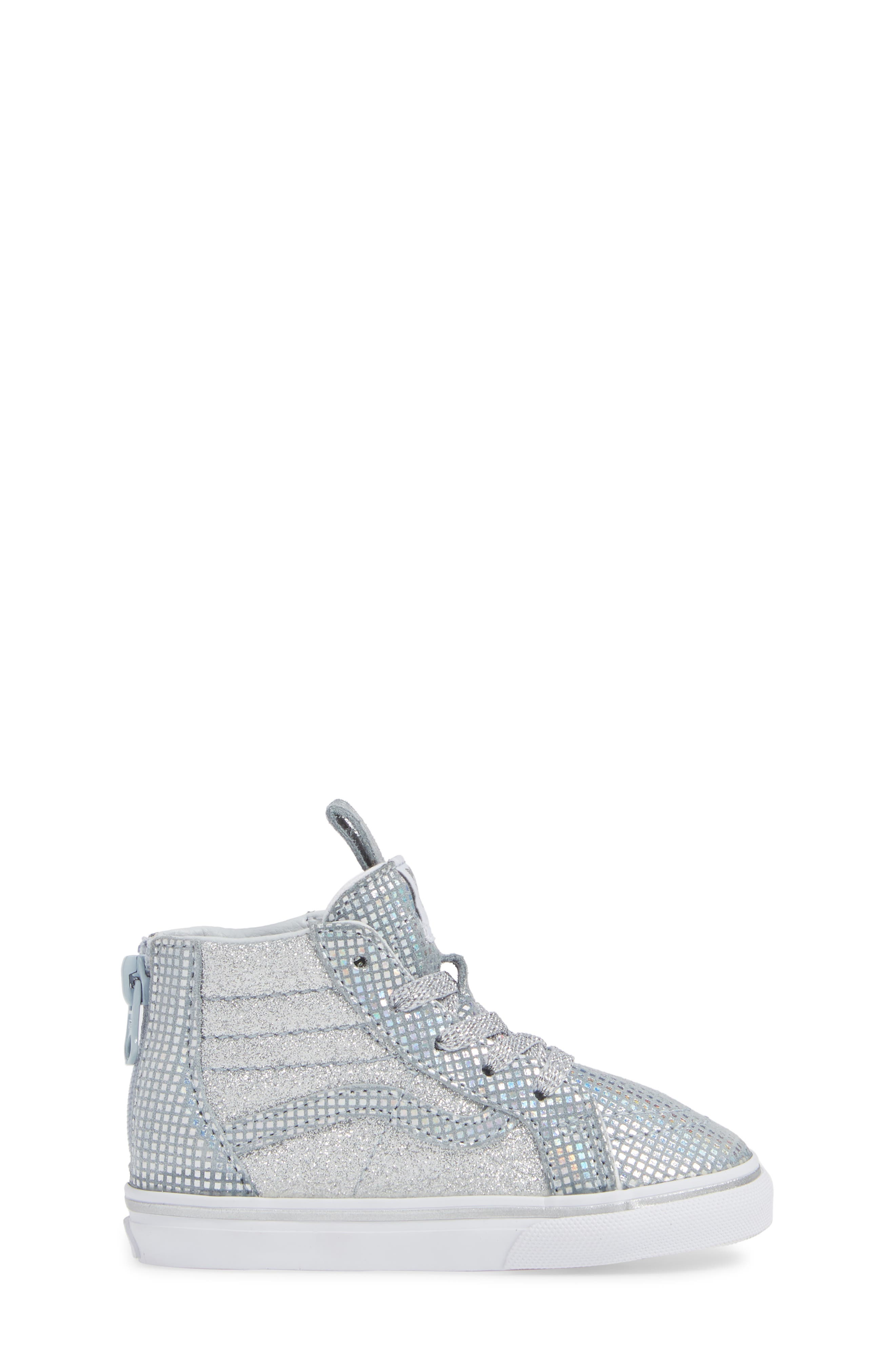 SK8-Hi Zip Sparkle Sneaker,                             Alternate thumbnail 3, color,                             METALLIC SILVER GLITTER