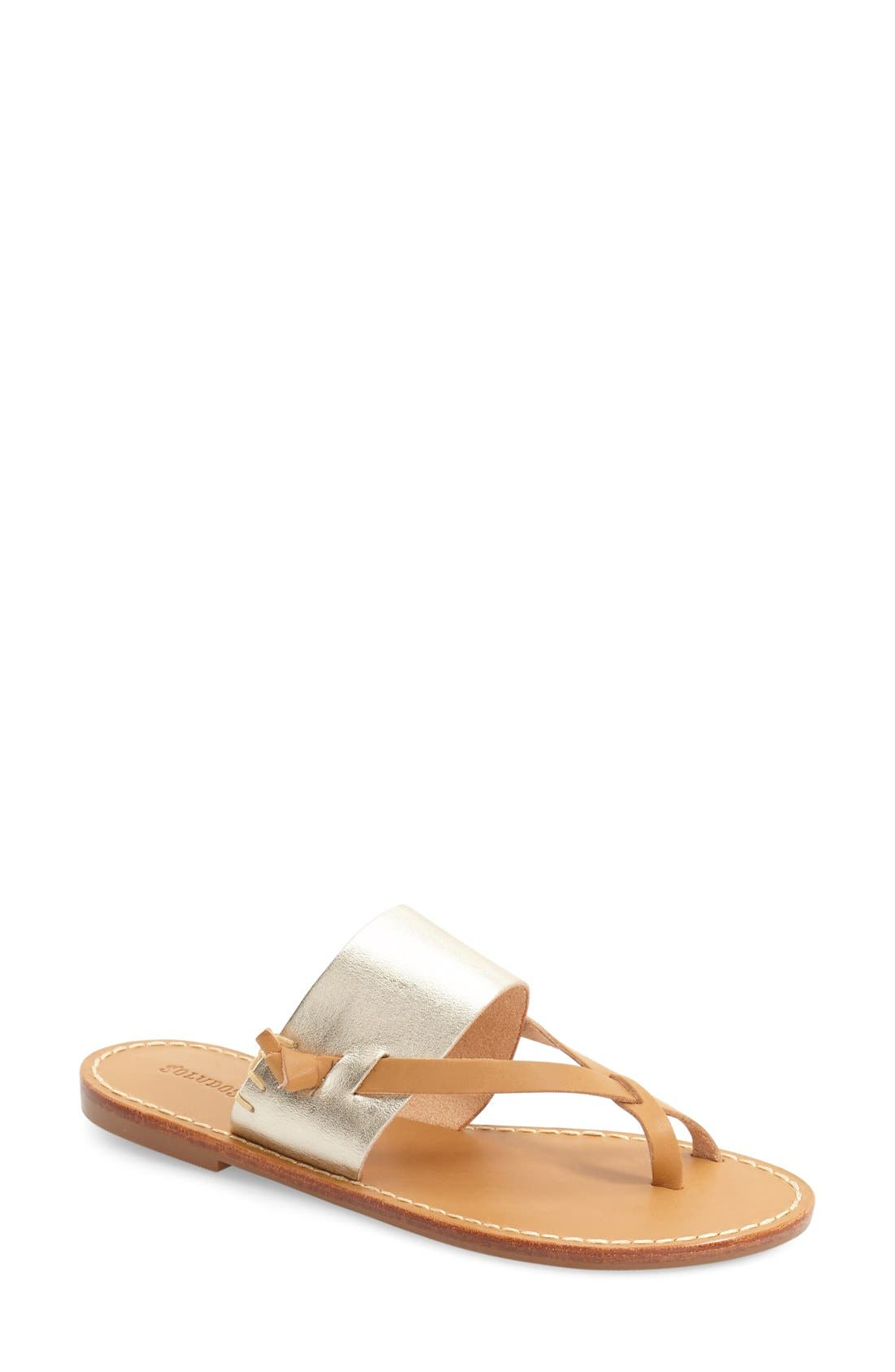 'Slotted' Thong Sandal,                         Main,                         color, METALLIC/ PLATINUM LEATHER