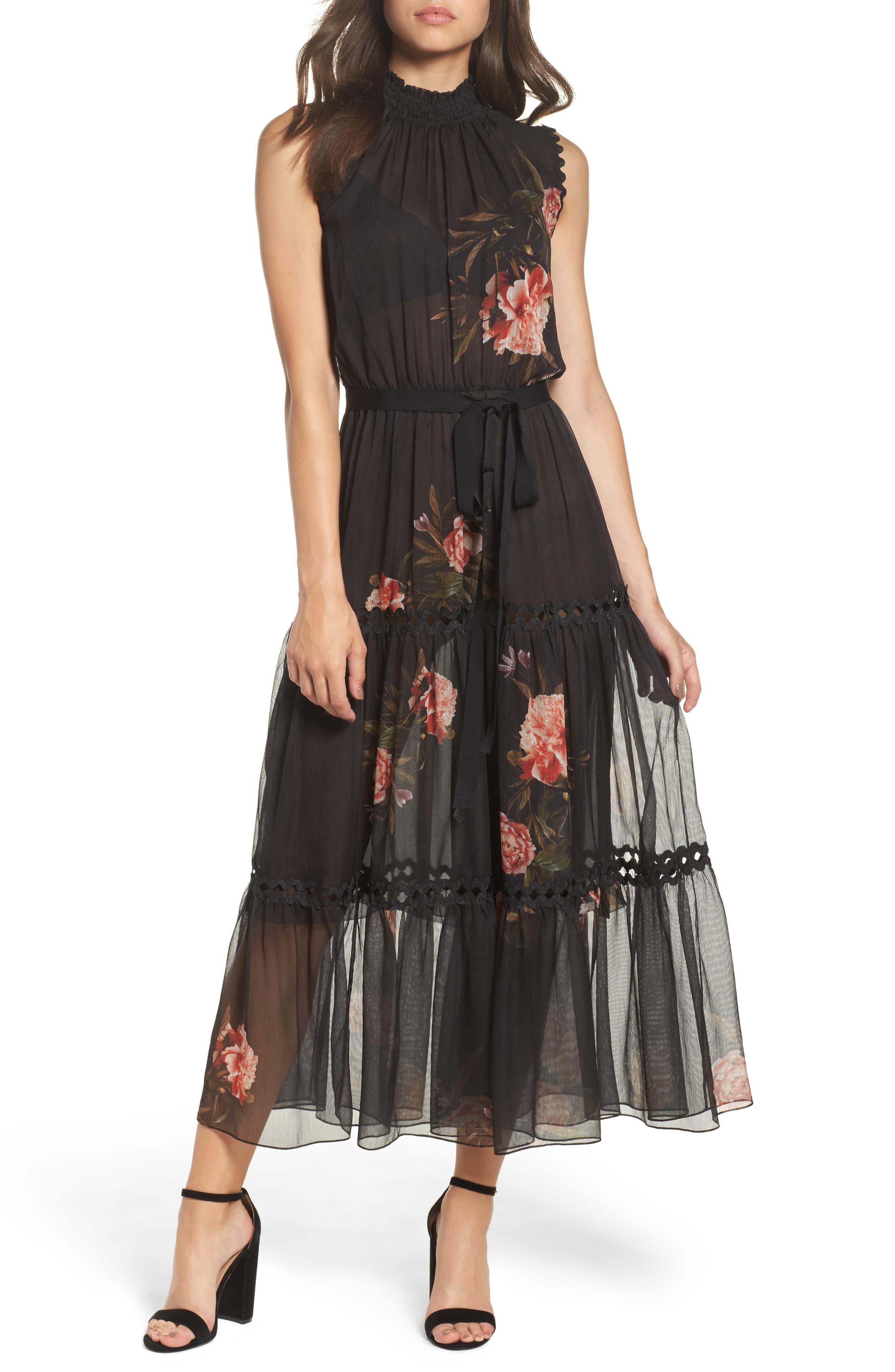 Noir Rana Smocked Neck Midi Dress,                             Main thumbnail 1, color,                             001