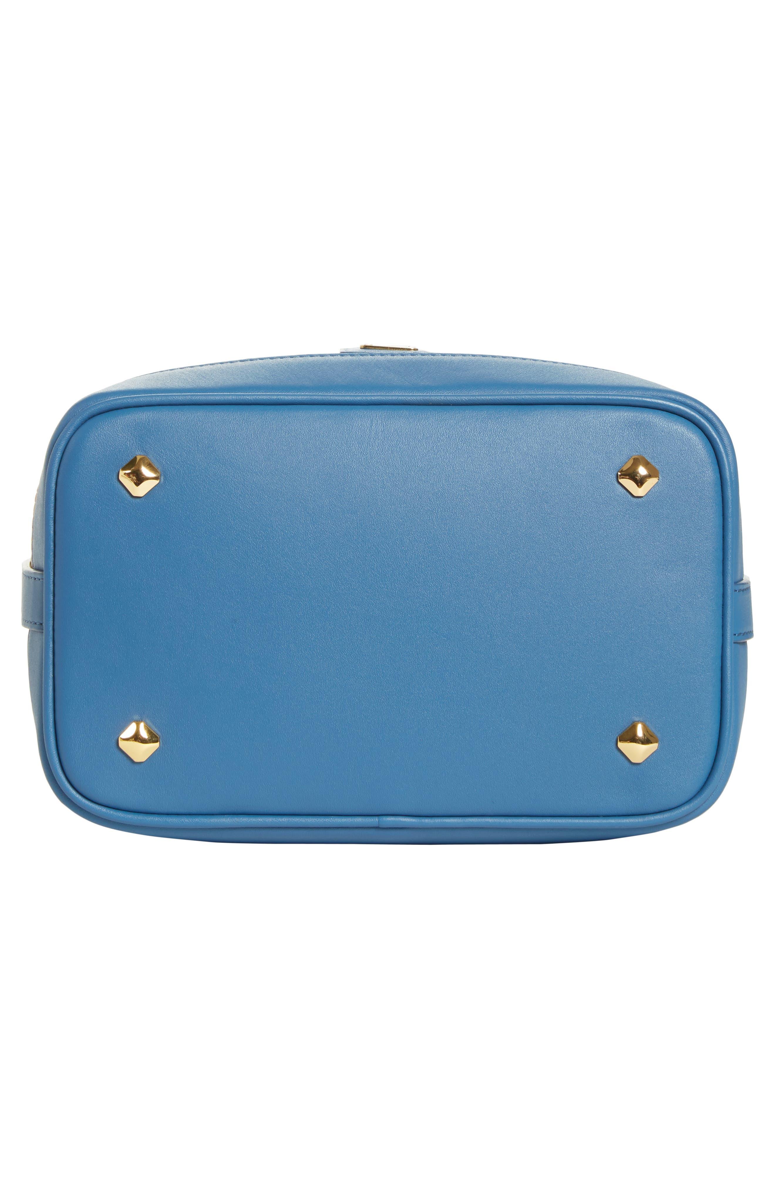 Small Visetos Drawstring Crossbody Bag,                             Alternate thumbnail 6, color,                             COGNAC/ SLATE BLUE