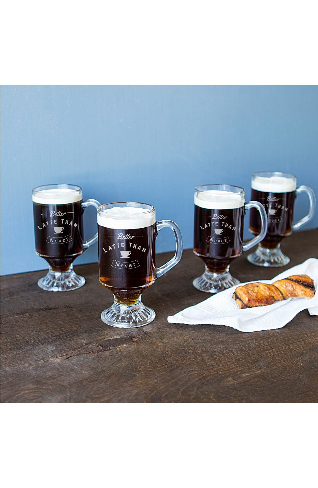 Better Latte Than Never Set of 4 Glass Mugs,                             Main thumbnail 1, color,