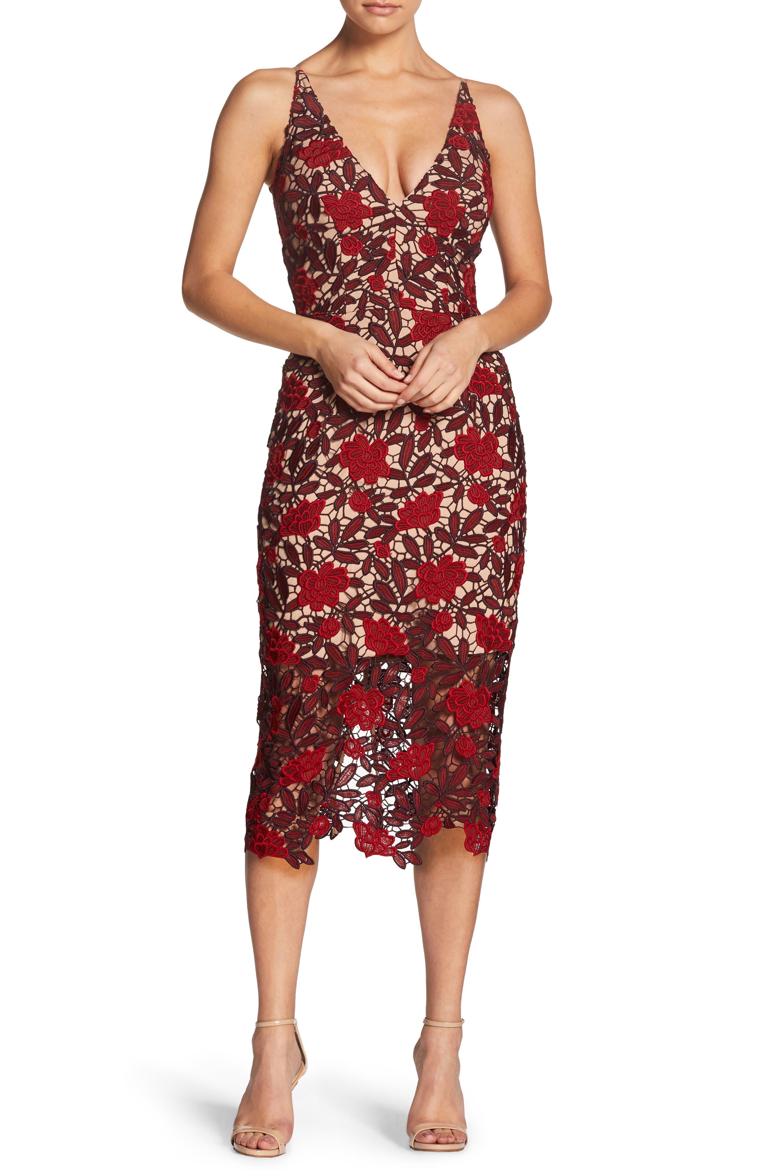Aurora Embroidered Sheath Dress,                             Alternate thumbnail 6, color,                             GARNET/ NUDE