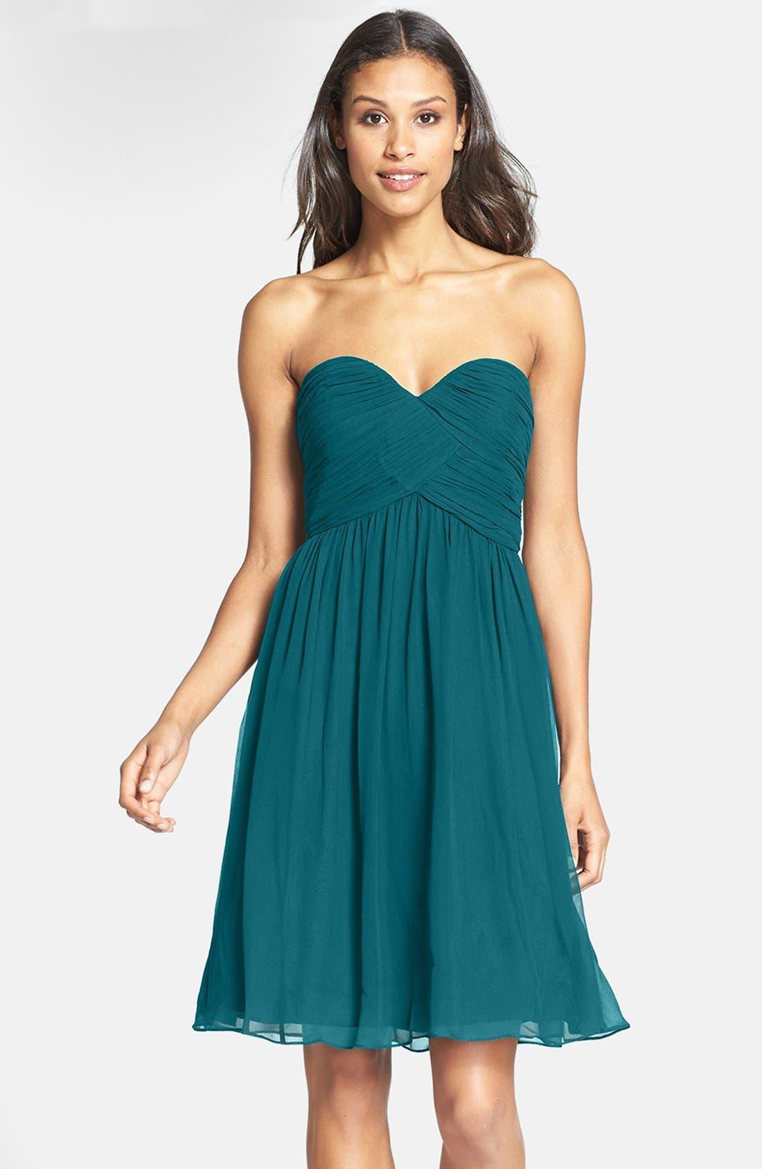 'Morgan' Strapless Silk Chiffon Dress,                             Main thumbnail 16, color,