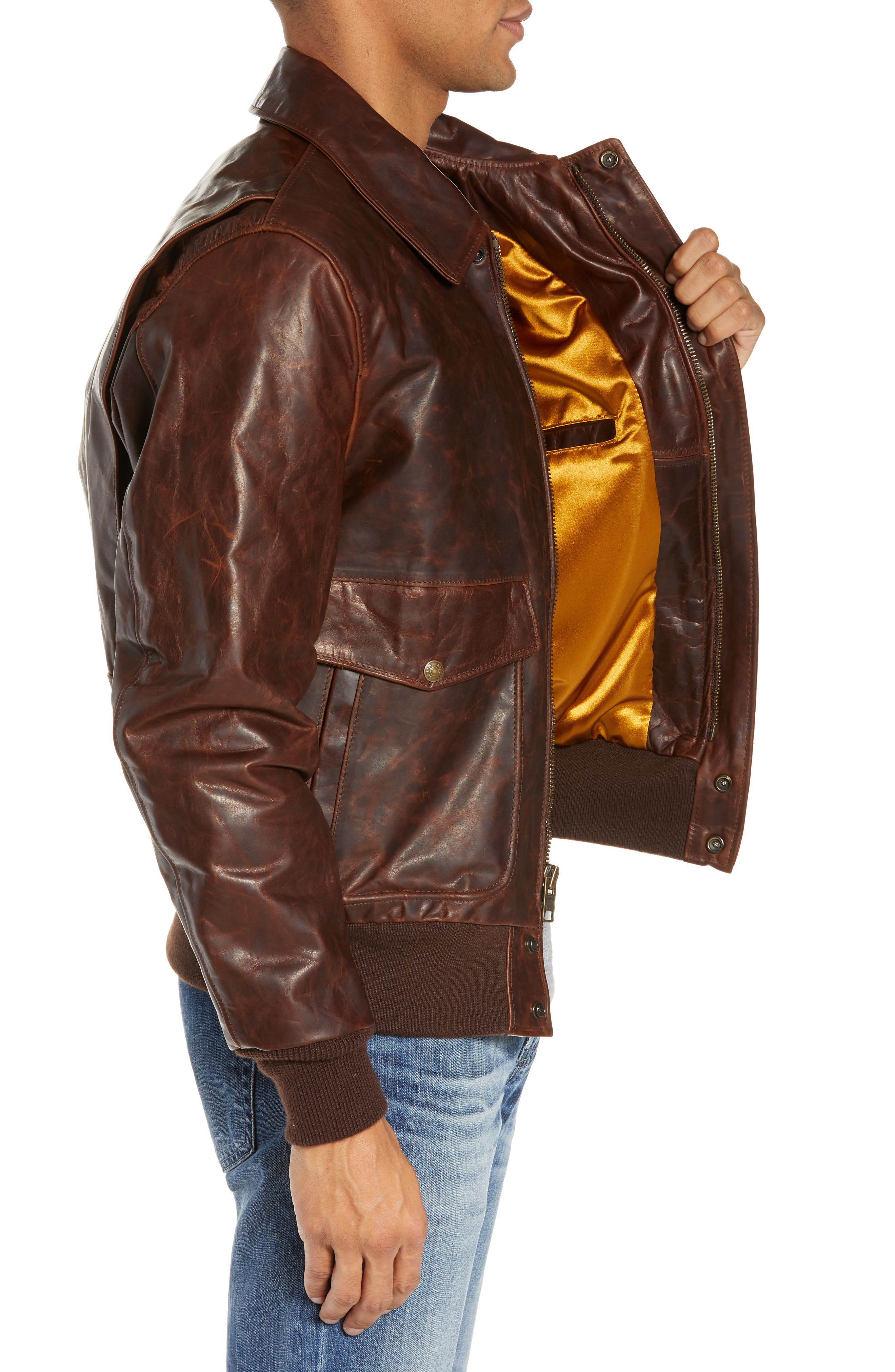 Vintage Oiled Cowhide Leather Flight Jacket,                             Alternate thumbnail 3, color,                             200