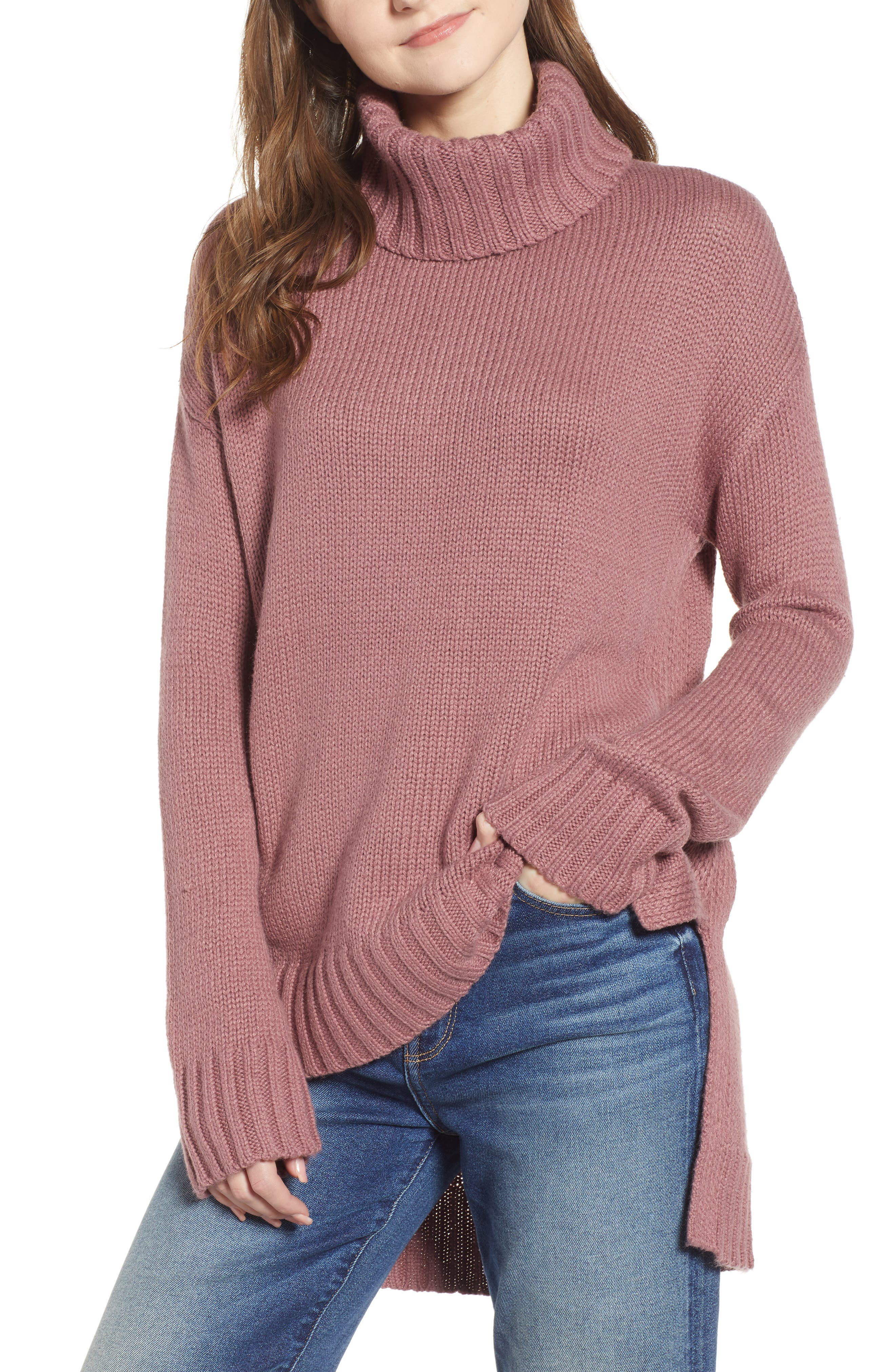 High/Low Turtleneck Sweater,                         Main,                         color, PURPLE TAUPE