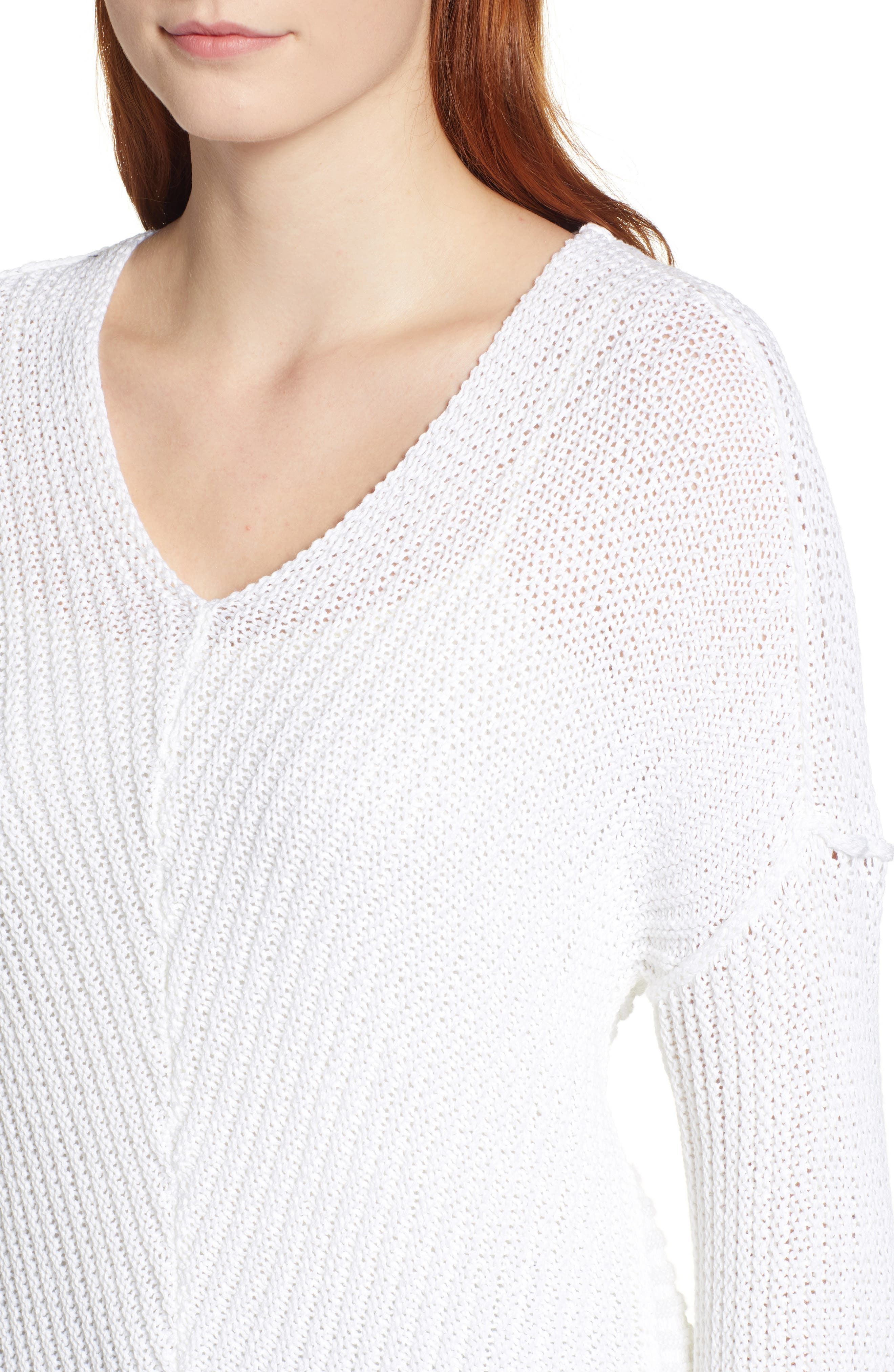 Cuffed Sleeve Sweater,                             Alternate thumbnail 4, color,                             100