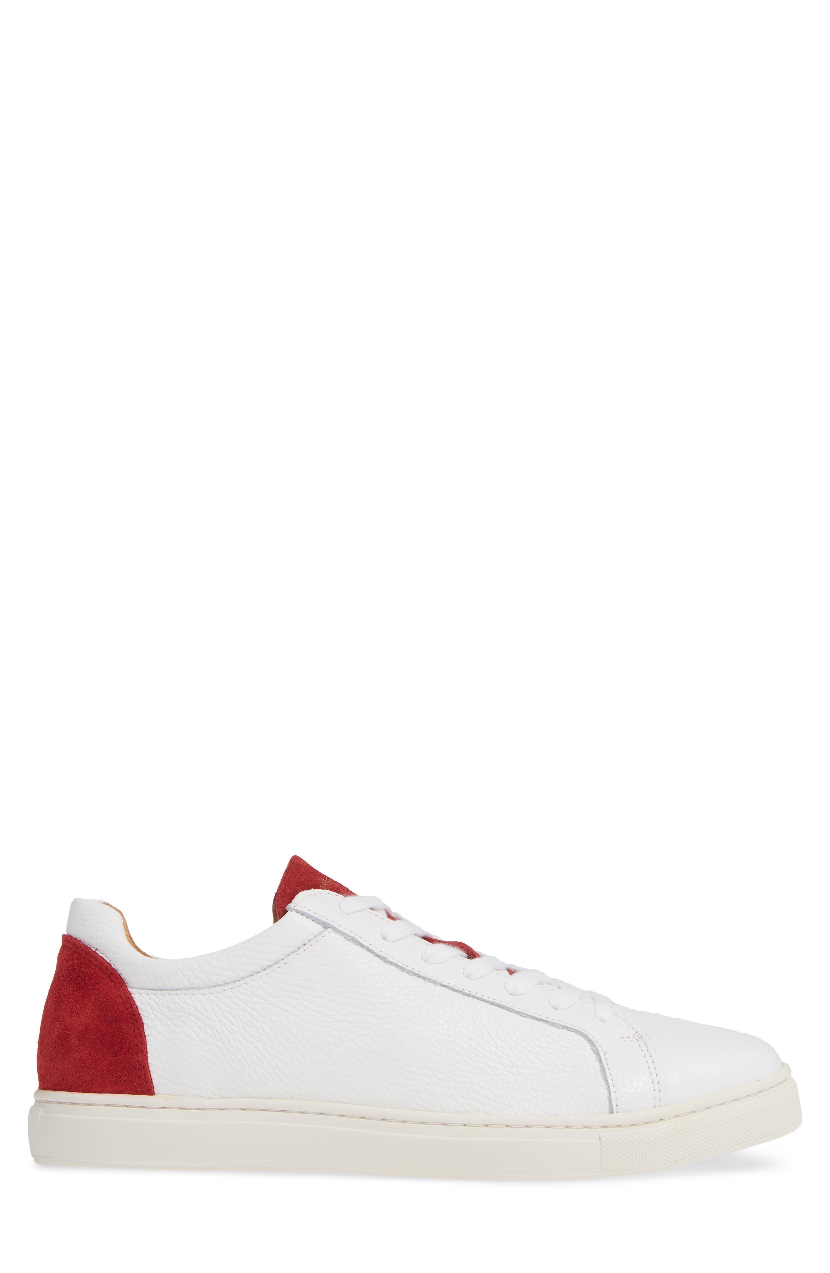 David Colorblock Sneaker,                             Alternate thumbnail 3, color,                             WHITE/ BARBADOS CHERRY