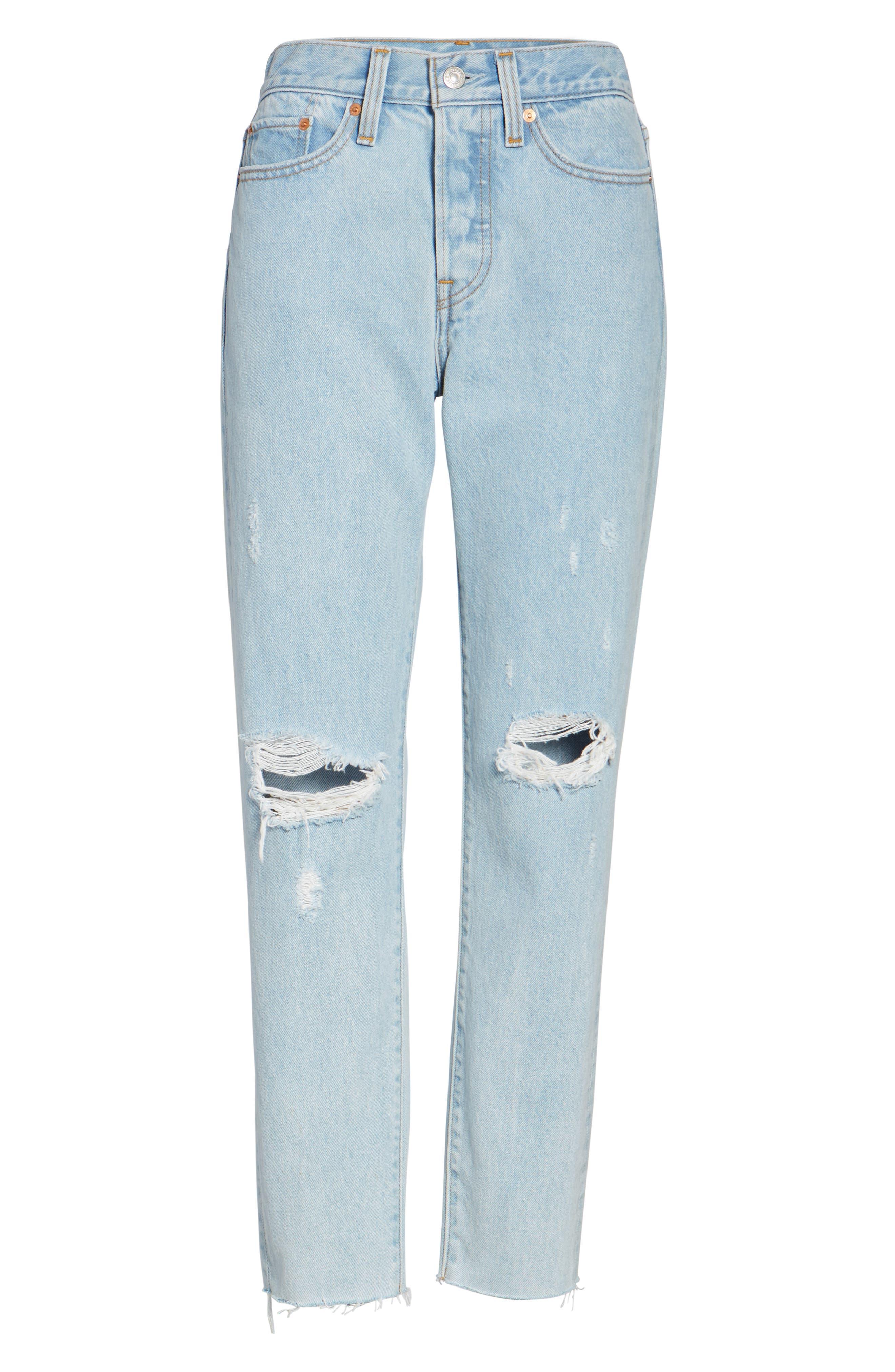 Wedgie High Waist Crop Jeans,                             Alternate thumbnail 6, color,                             450