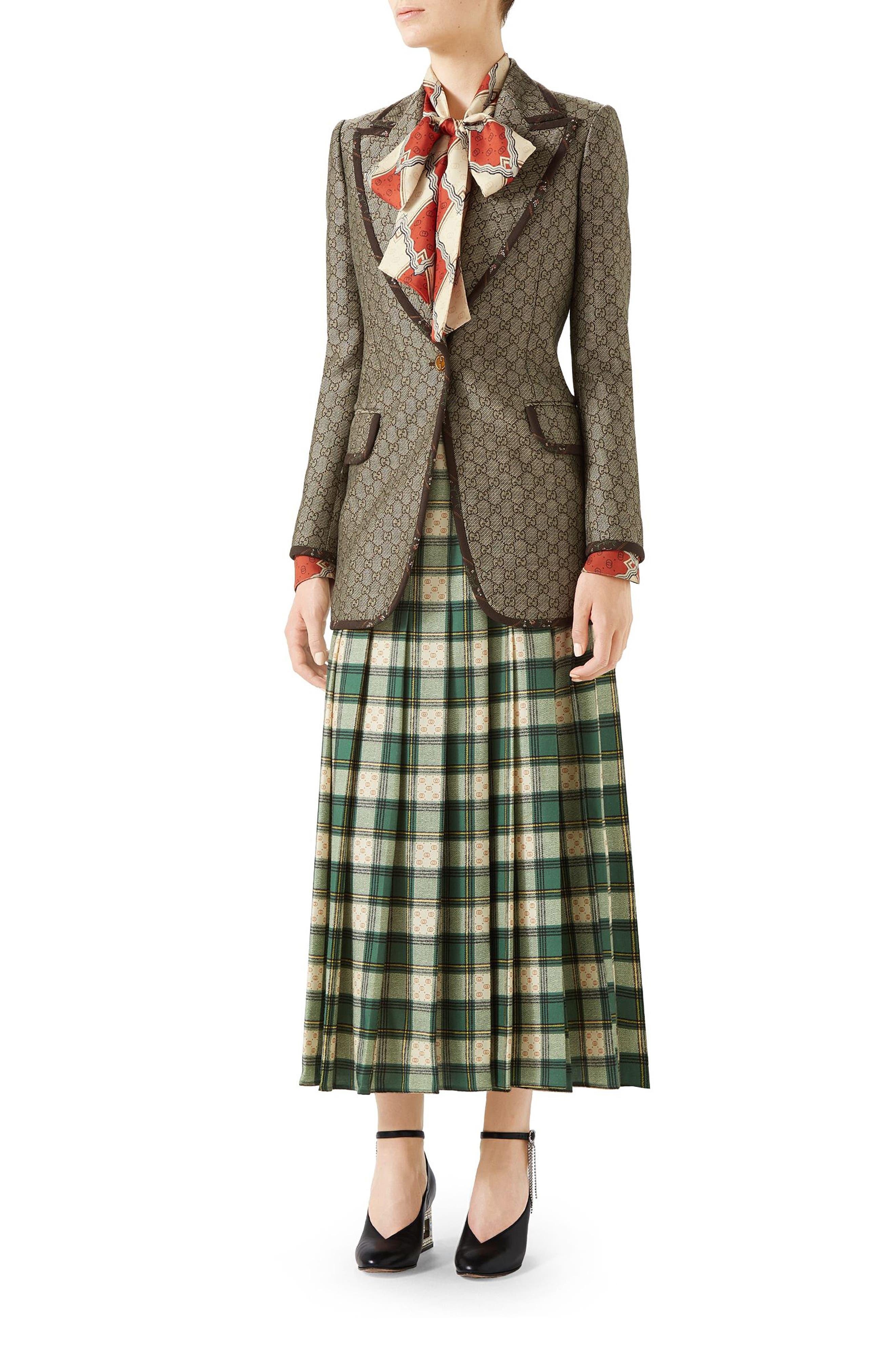 Tartan Check Wool Twill Maxi Skirt,                             Alternate thumbnail 4, color,                             3741 GREEN/ ROSE BEIGE PRI