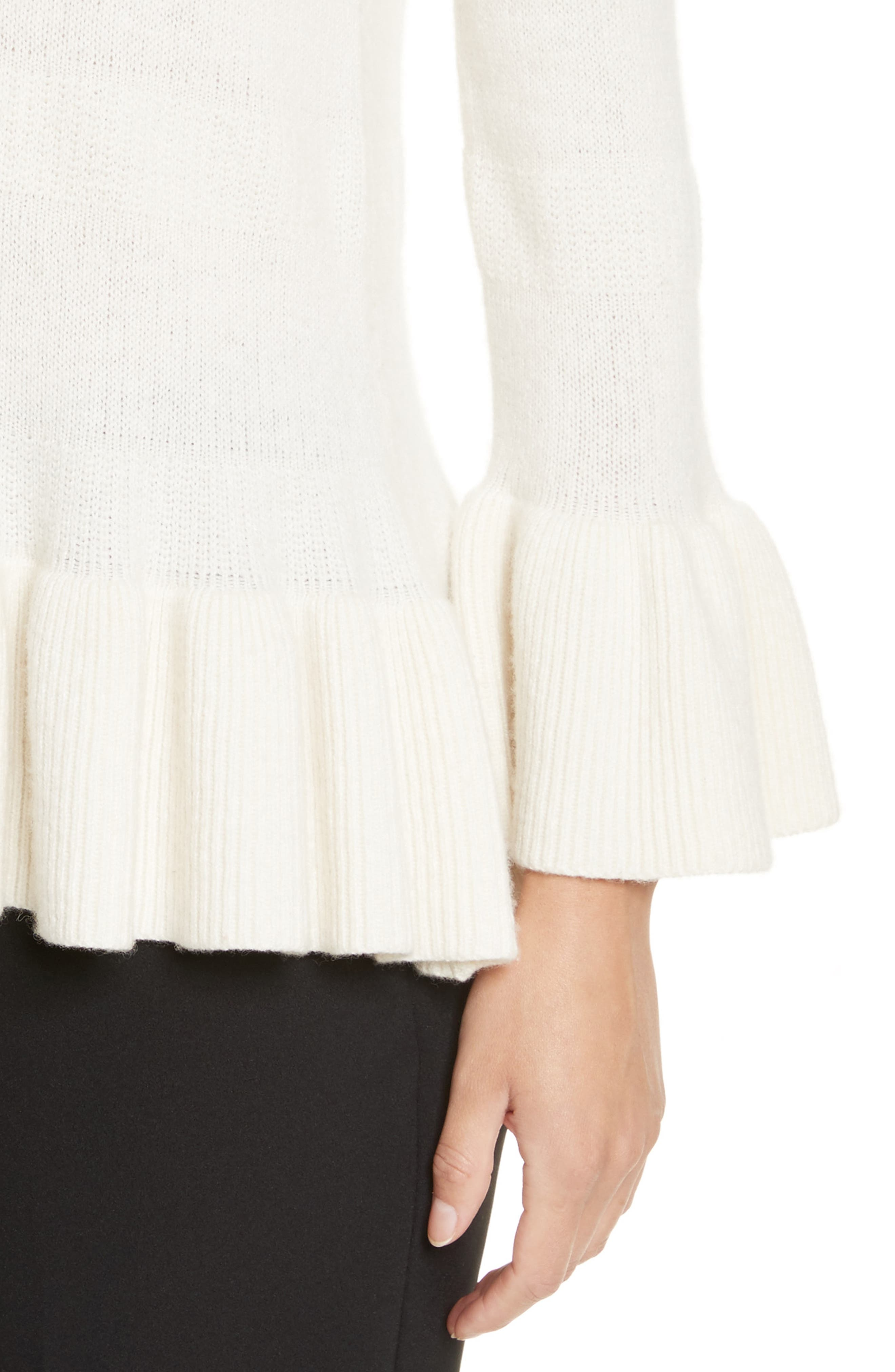 bell cuff textured sweater,                             Alternate thumbnail 4, color,                             902