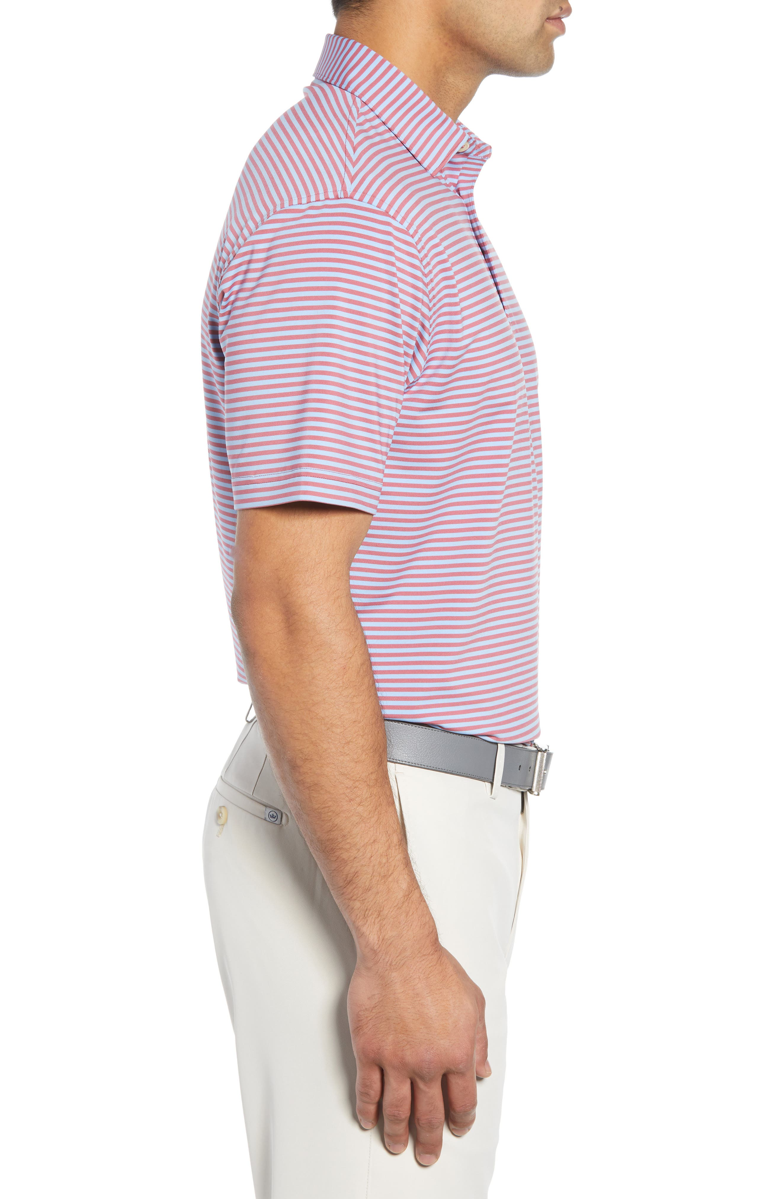 Competition Stripe Performance Polo,                             Alternate thumbnail 3, color,                             RADISH/ COTTAGE BLUE