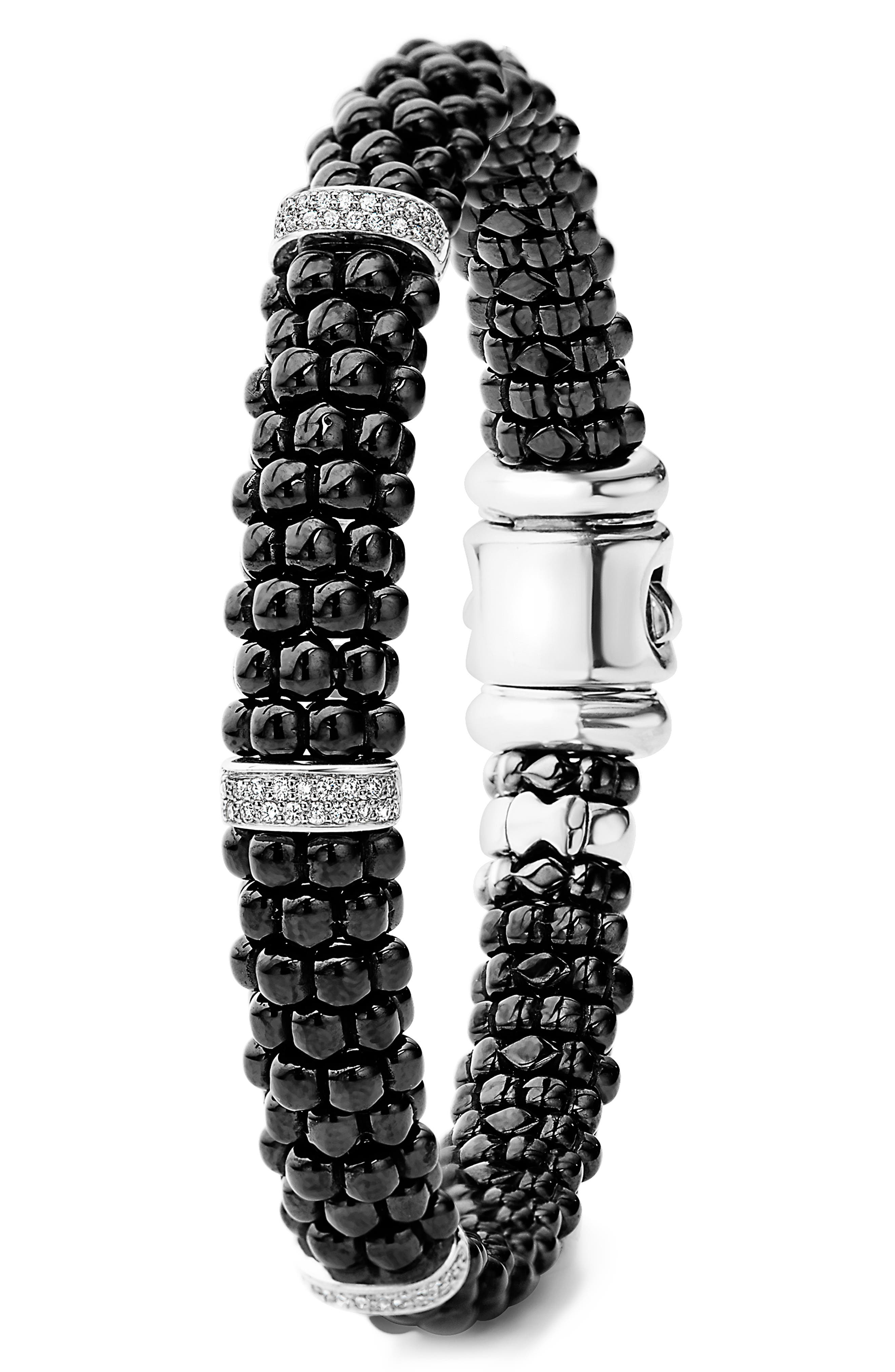 Black Caviar Diamond Bracelet,                             Alternate thumbnail 2, color,                             BLACK/ SILVER