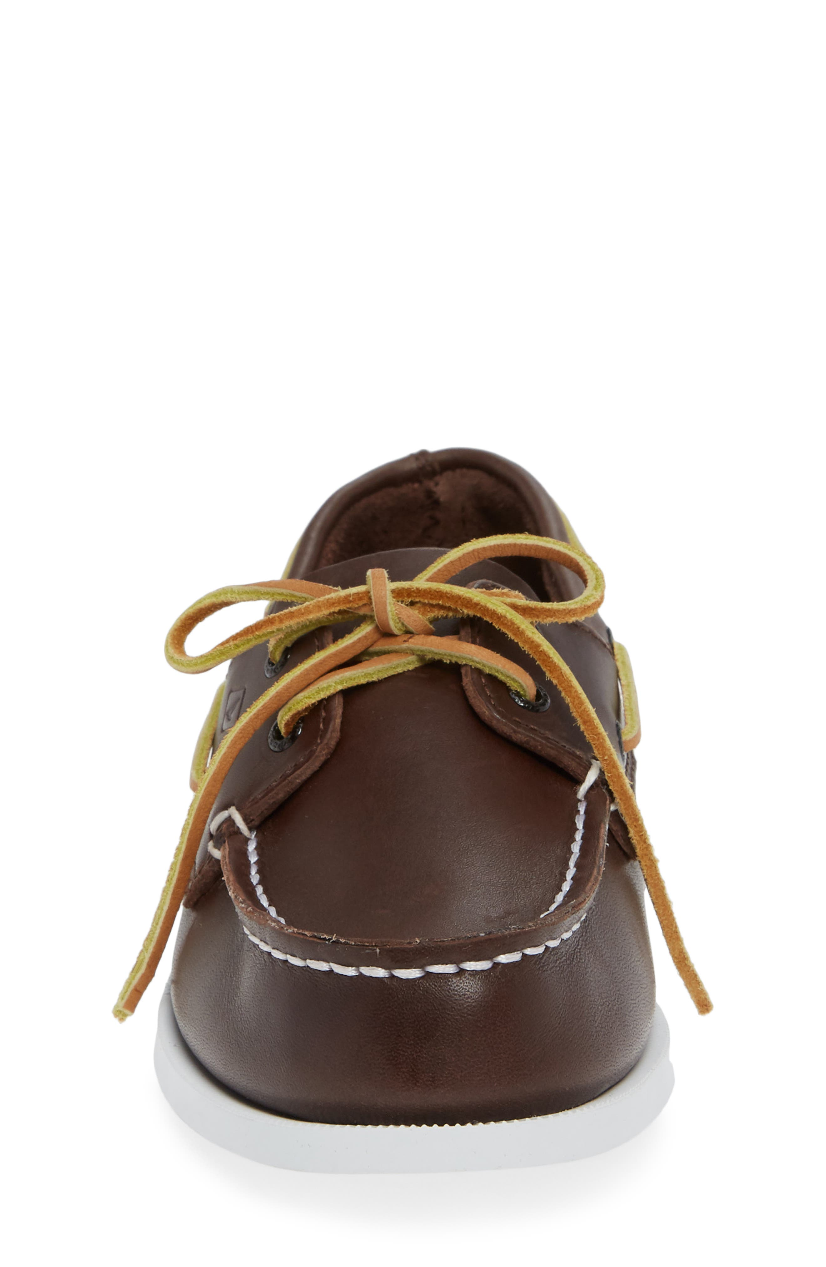 SPERRY KIDS,                             'Authentic Original' Boat Shoe,                             Alternate thumbnail 5, color,                             BROWN LEATHER