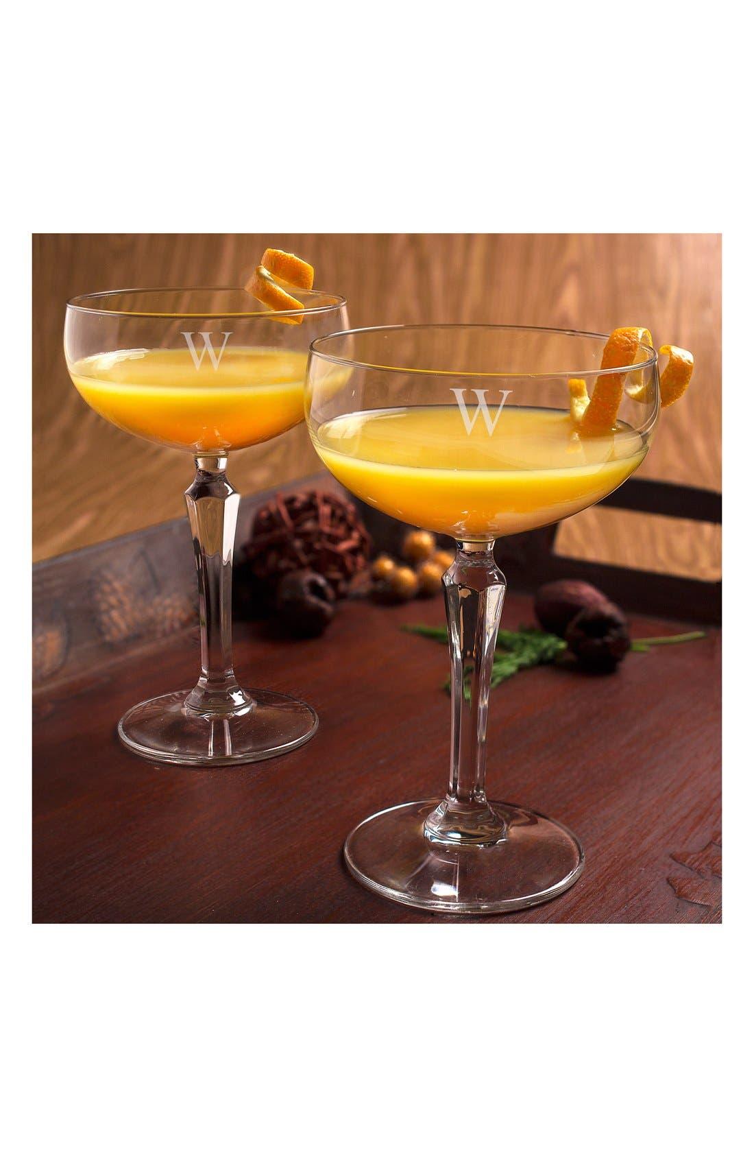 Monogram Coupe Cocktail/Champagne Glasses,                             Alternate thumbnail 4, color,                             123