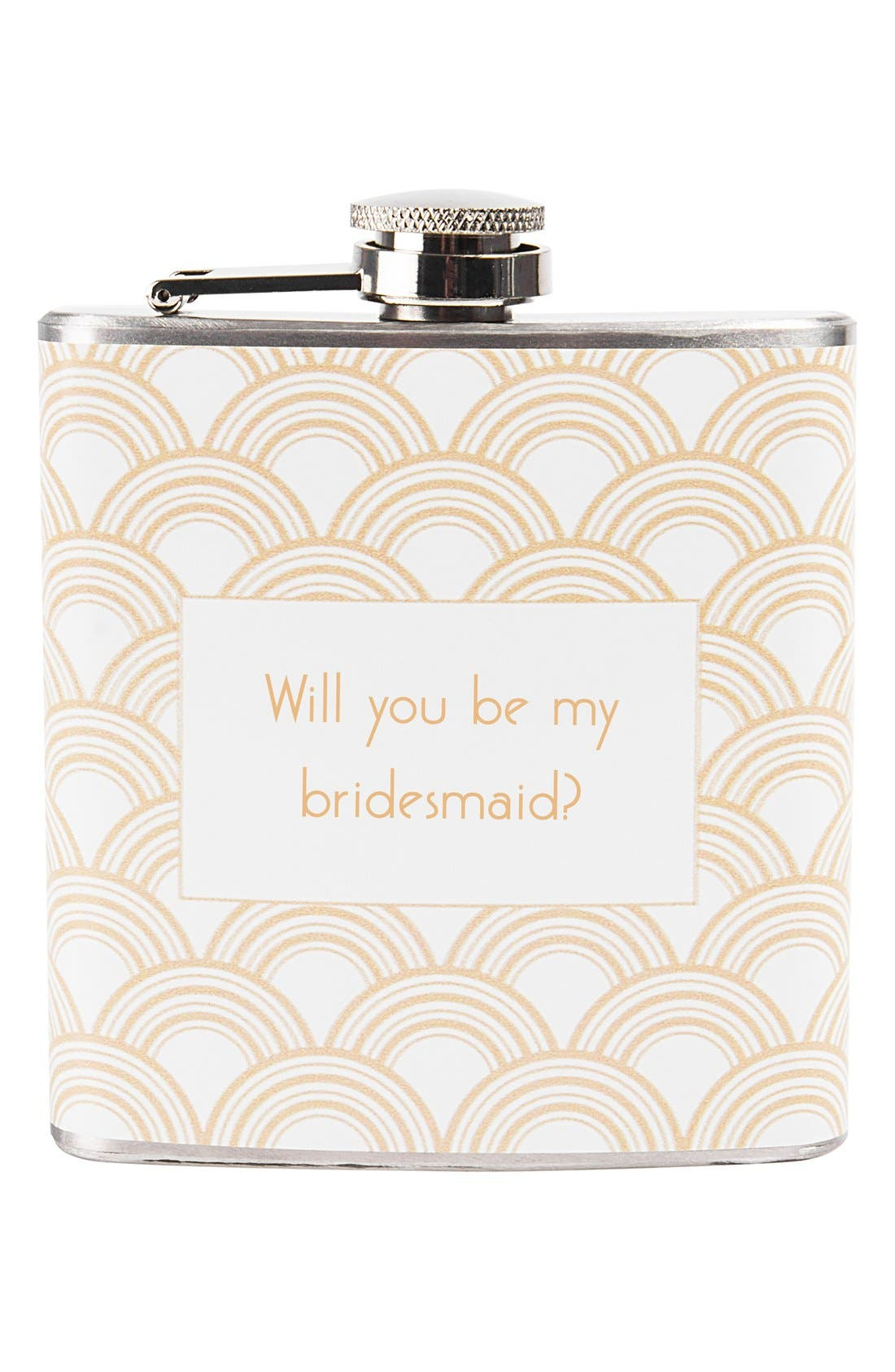 'Will You Be My Bridesmaid?' Print Flask,                             Alternate thumbnail 3, color,