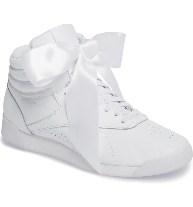 e1d27376927 Reebok Freestyle Hi Satin Bow Sneaker (Women)
