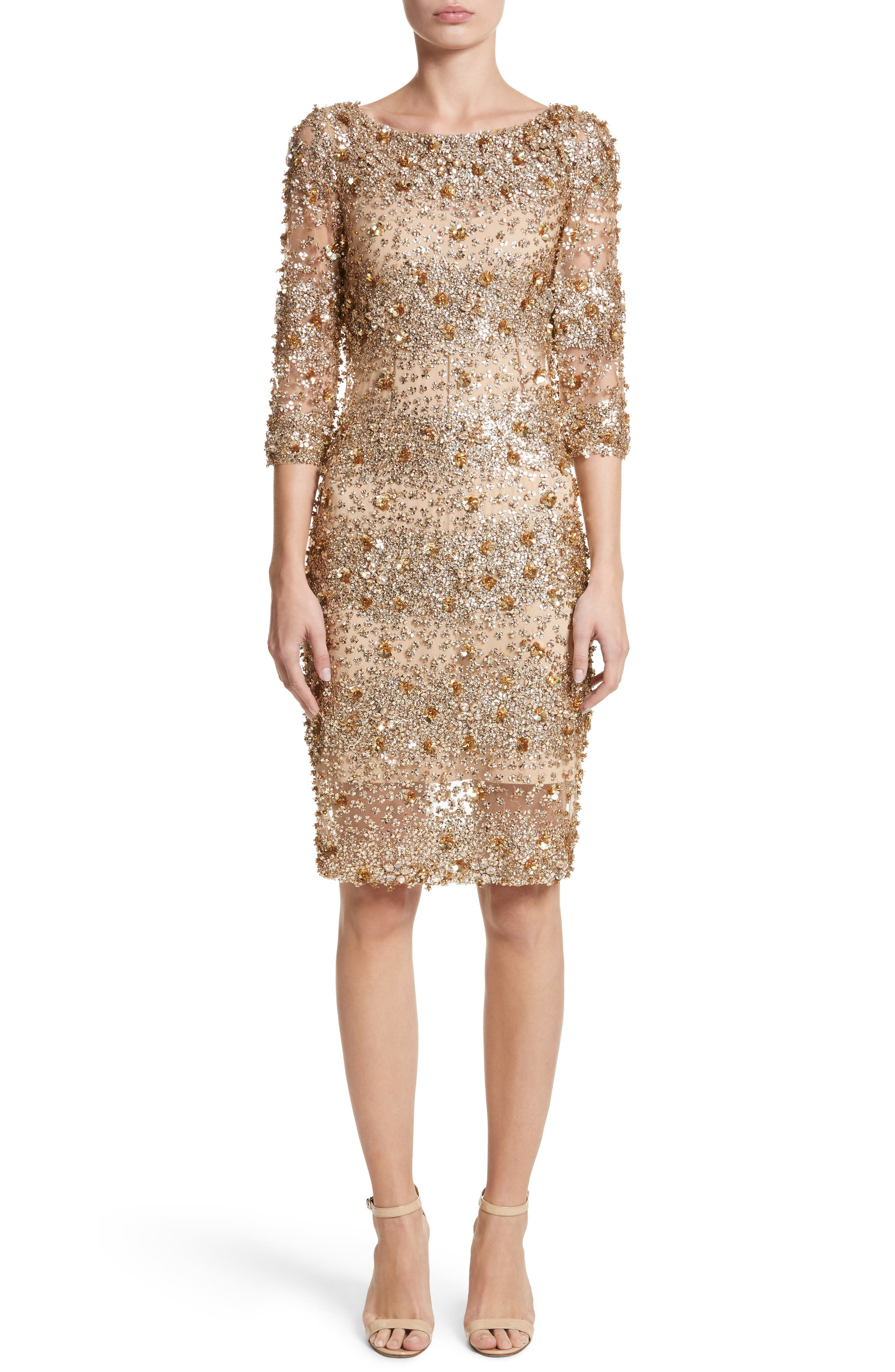 Embellished Dégradé Sheath Dress,                             Main thumbnail 1, color,