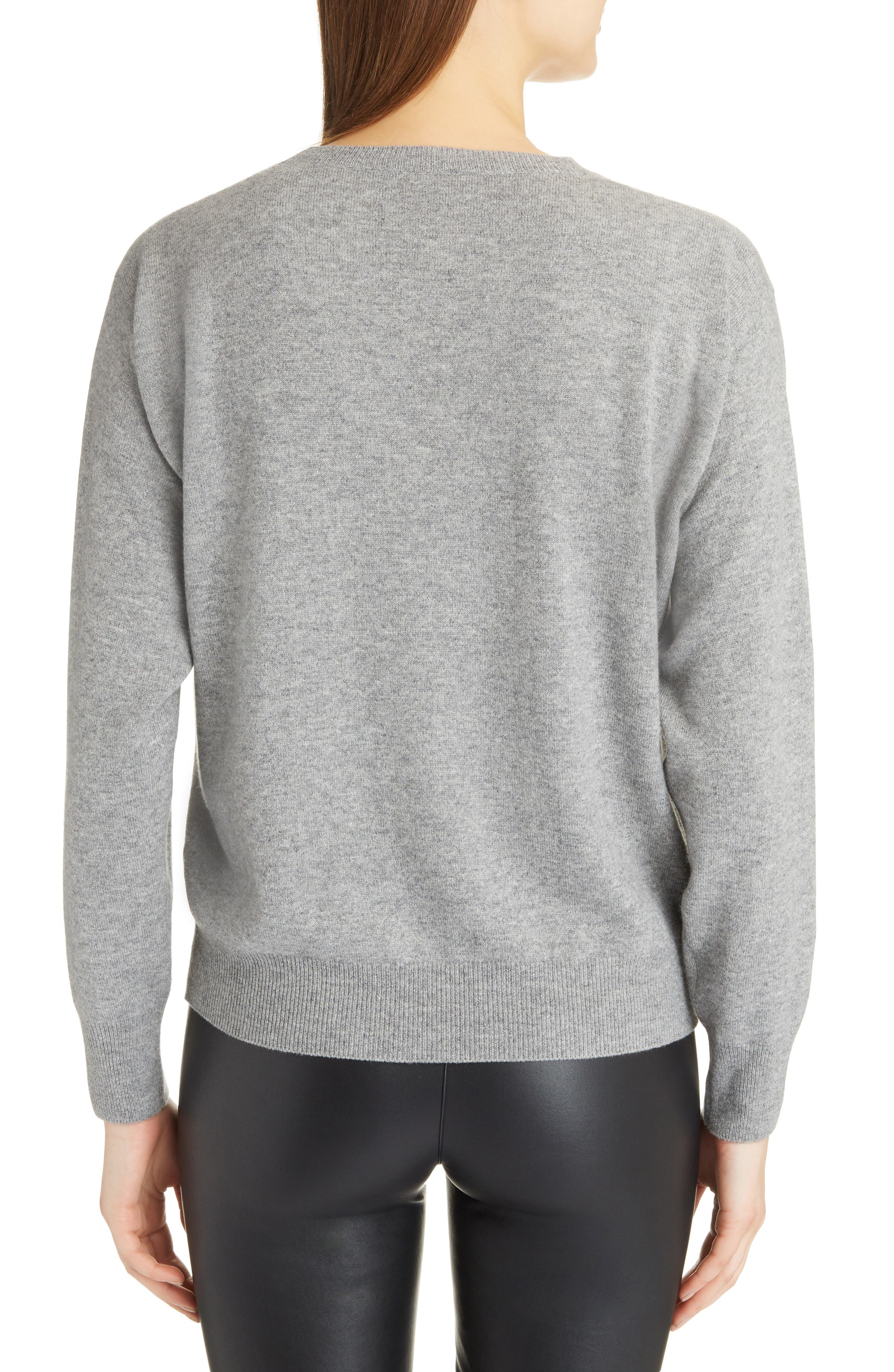 Shredded Logo Cashmere Sweater,                             Alternate thumbnail 2, color,                             GREY