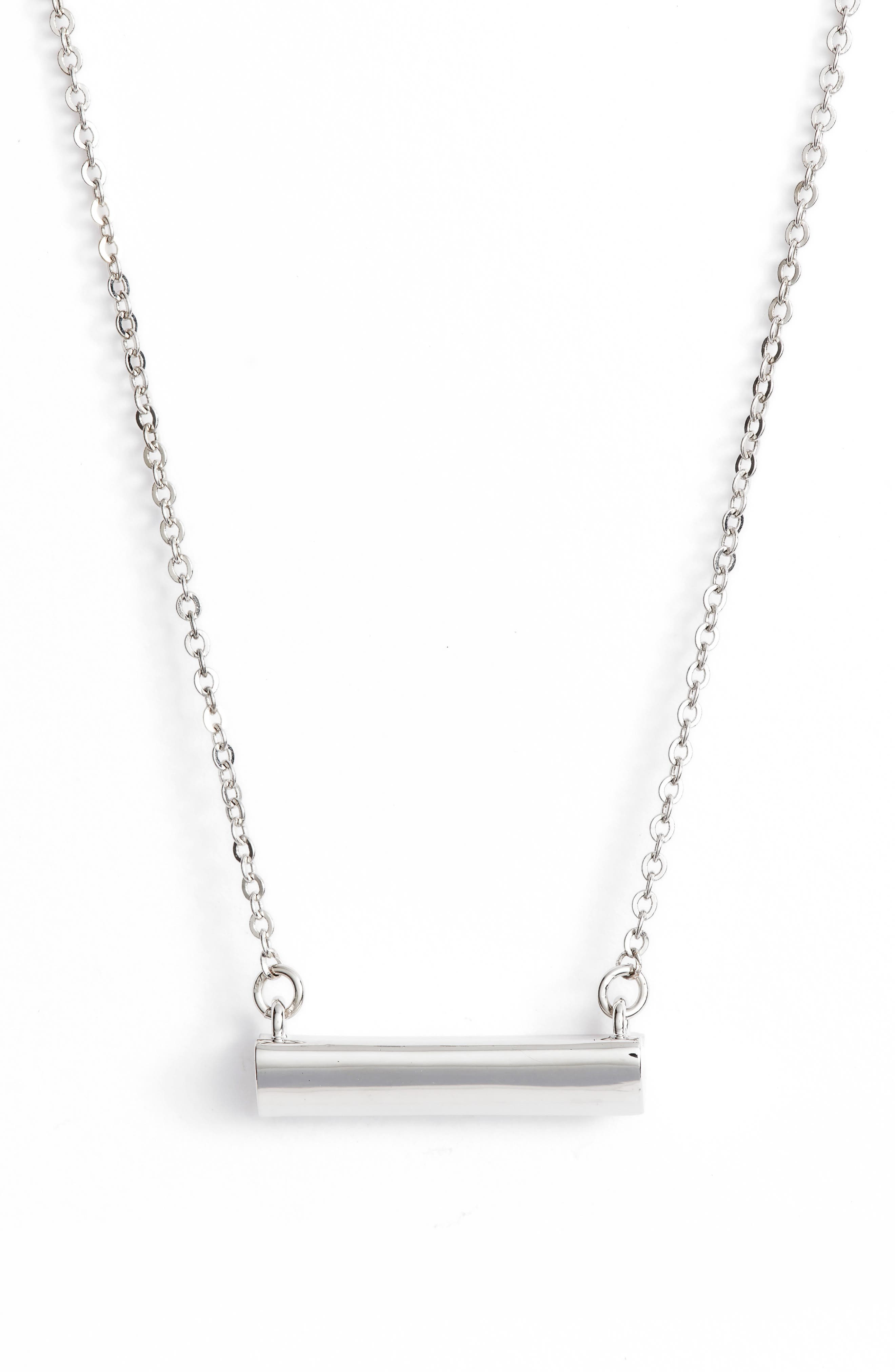Heart Shaped Bar Pendant Necklace,                             Main thumbnail 1, color,                             SILVER