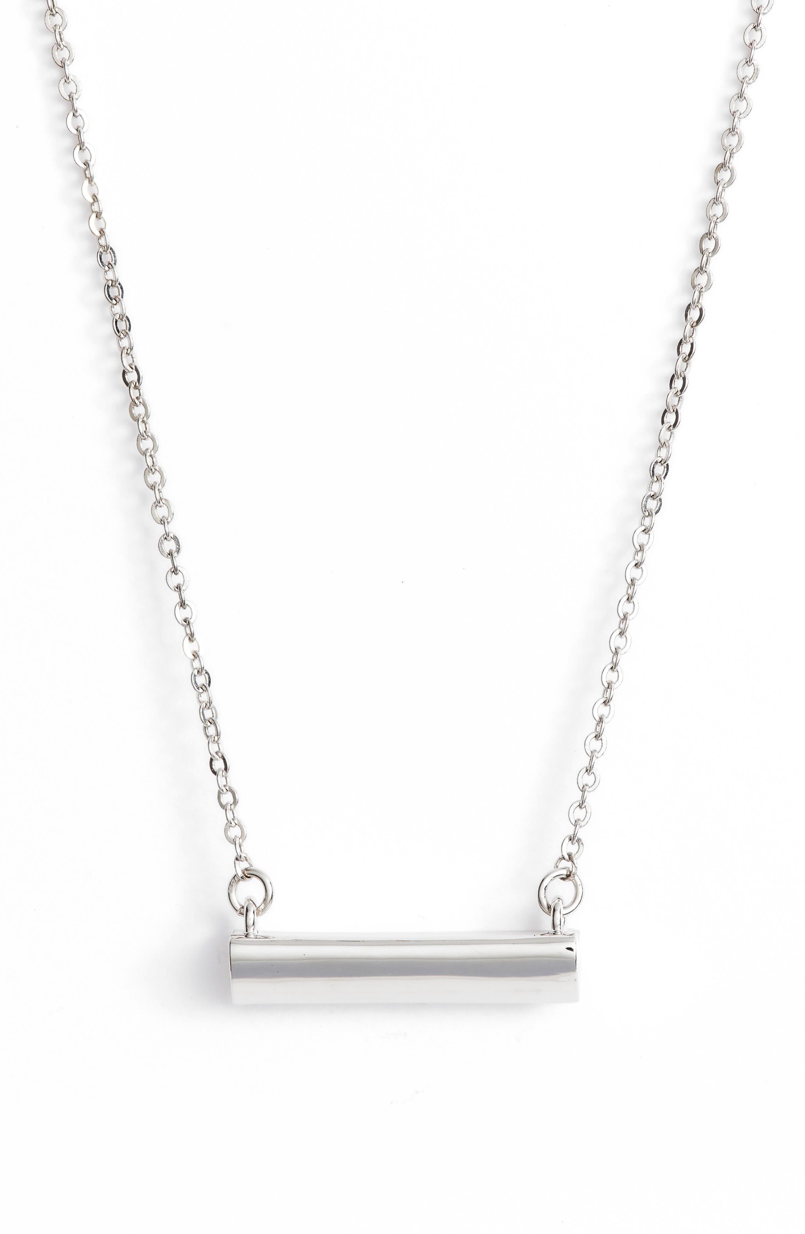 Heart Shaped Bar Pendant Necklace,                         Main,                         color, SILVER