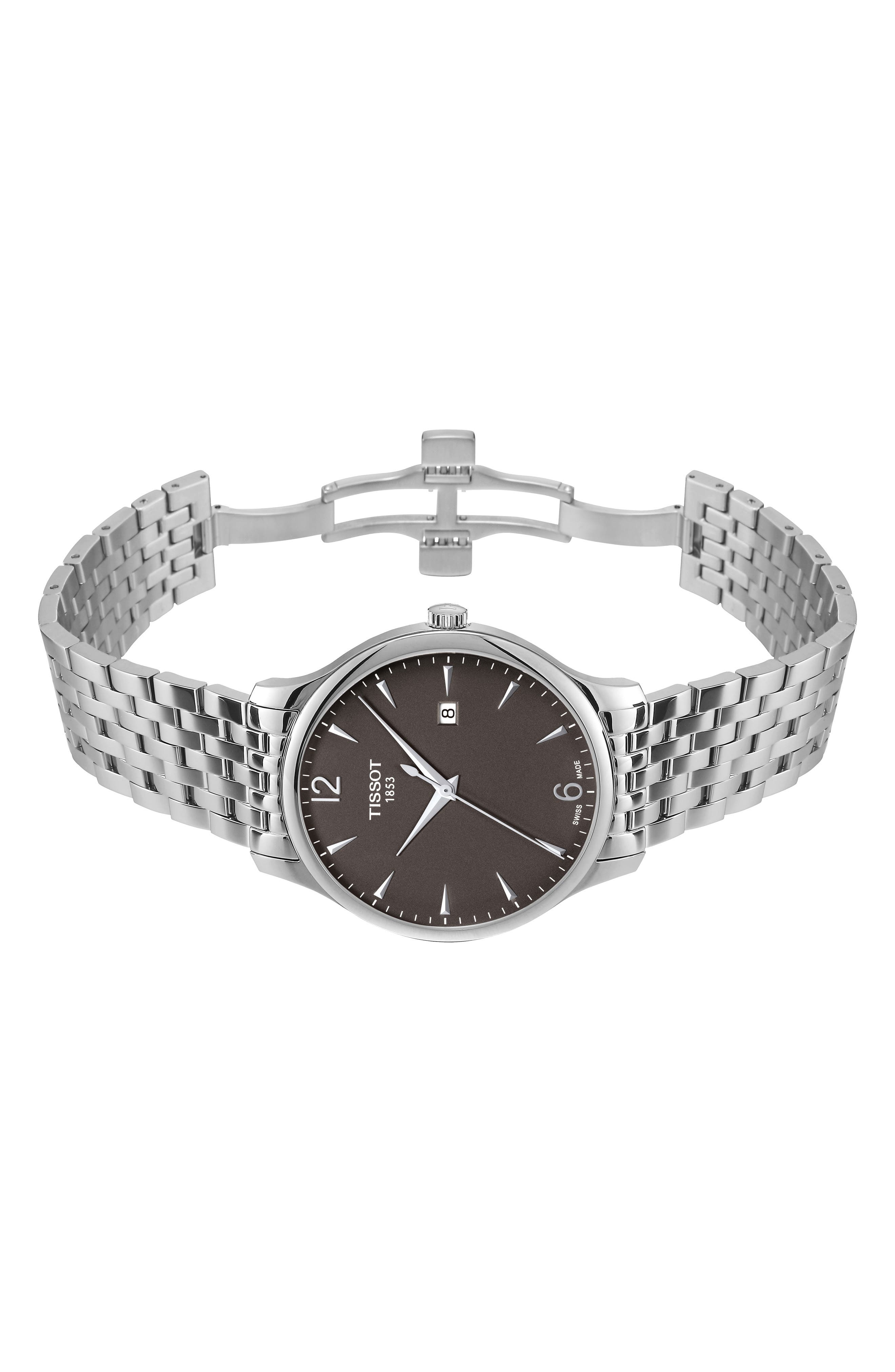 Tradition Bracelet Watch, 42mm,                             Alternate thumbnail 7, color,                             SILVER/ GREY/ SILVER