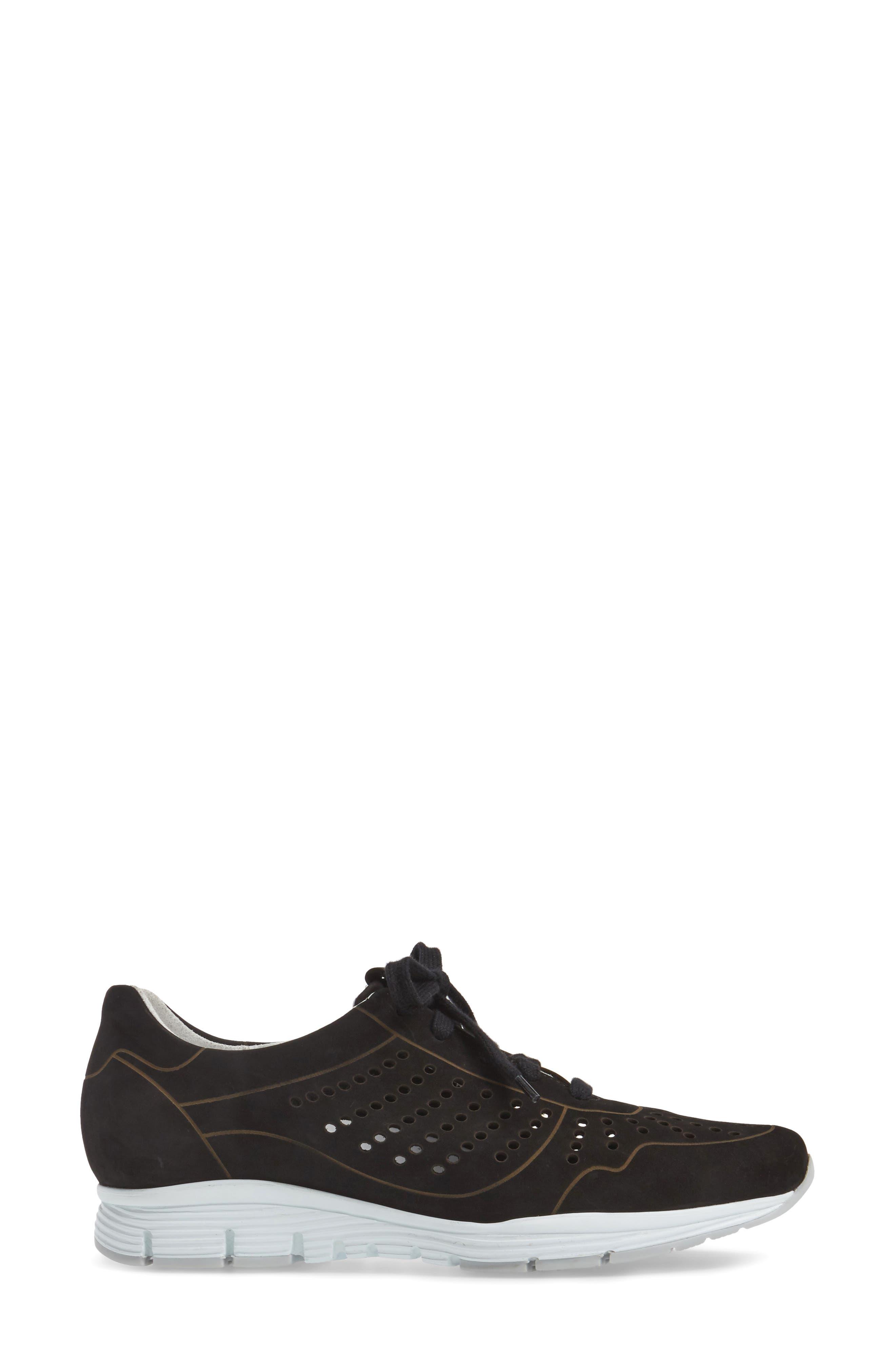 Yliane Sneaker,                             Alternate thumbnail 3, color,                             BLACK NUBUCK LEATHER
