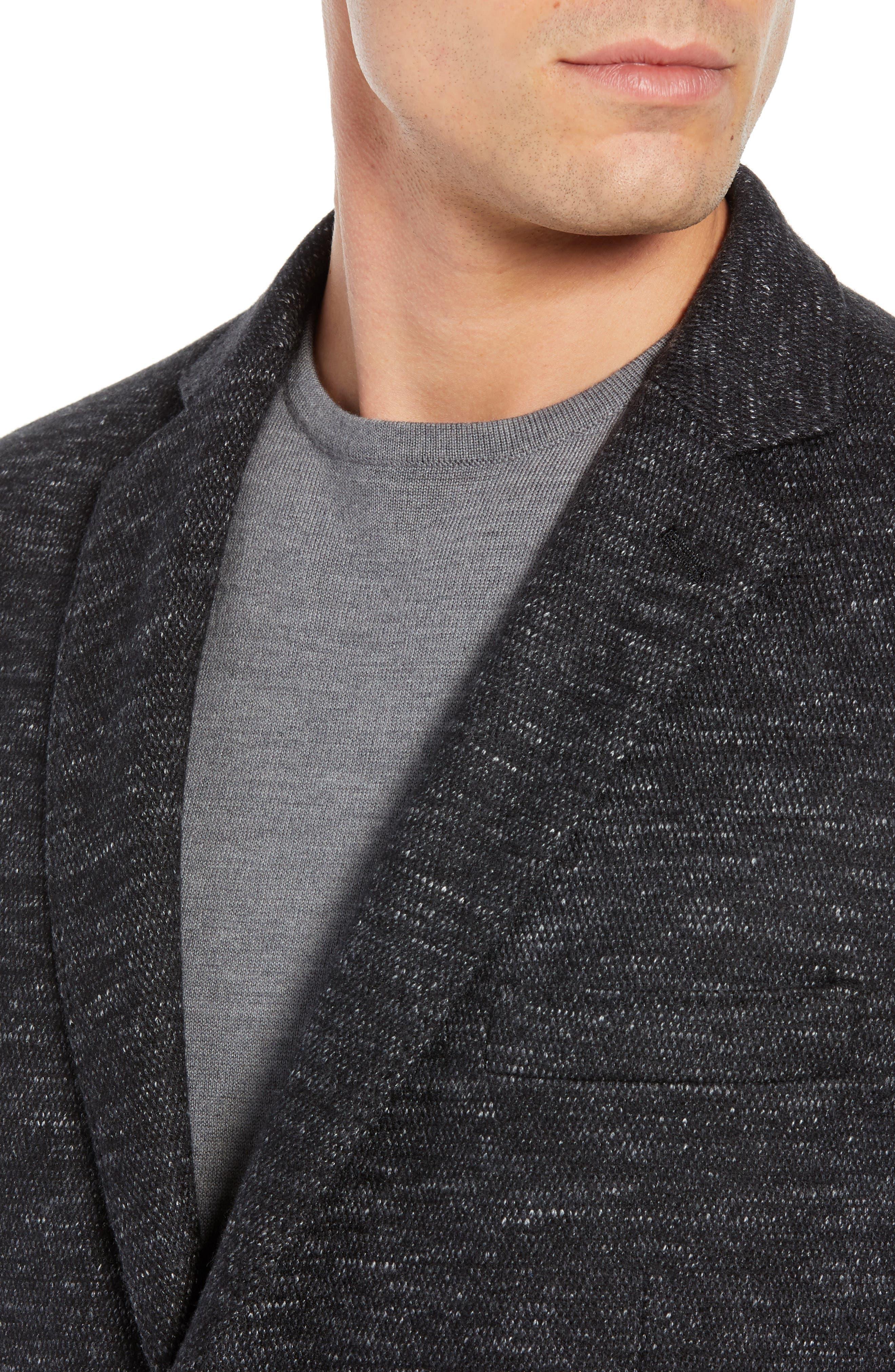 Regular Fit Knit Wool Blend Sport Coat,                             Alternate thumbnail 4, color,                             CHARCOAL