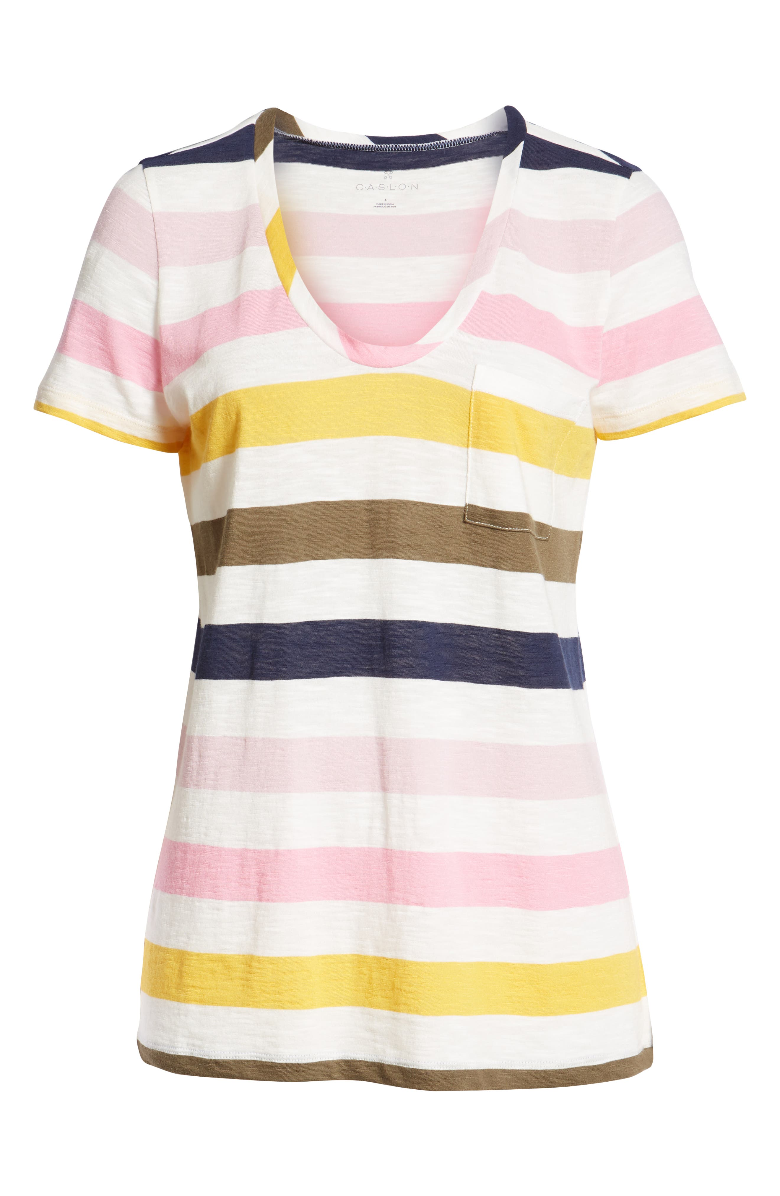 CASLON<SUP>®</SUP>,                             Rounded V-Neck Tee,                             Alternate thumbnail 7, color,                             PINK S- NAVY P NOMAD STRIPE
