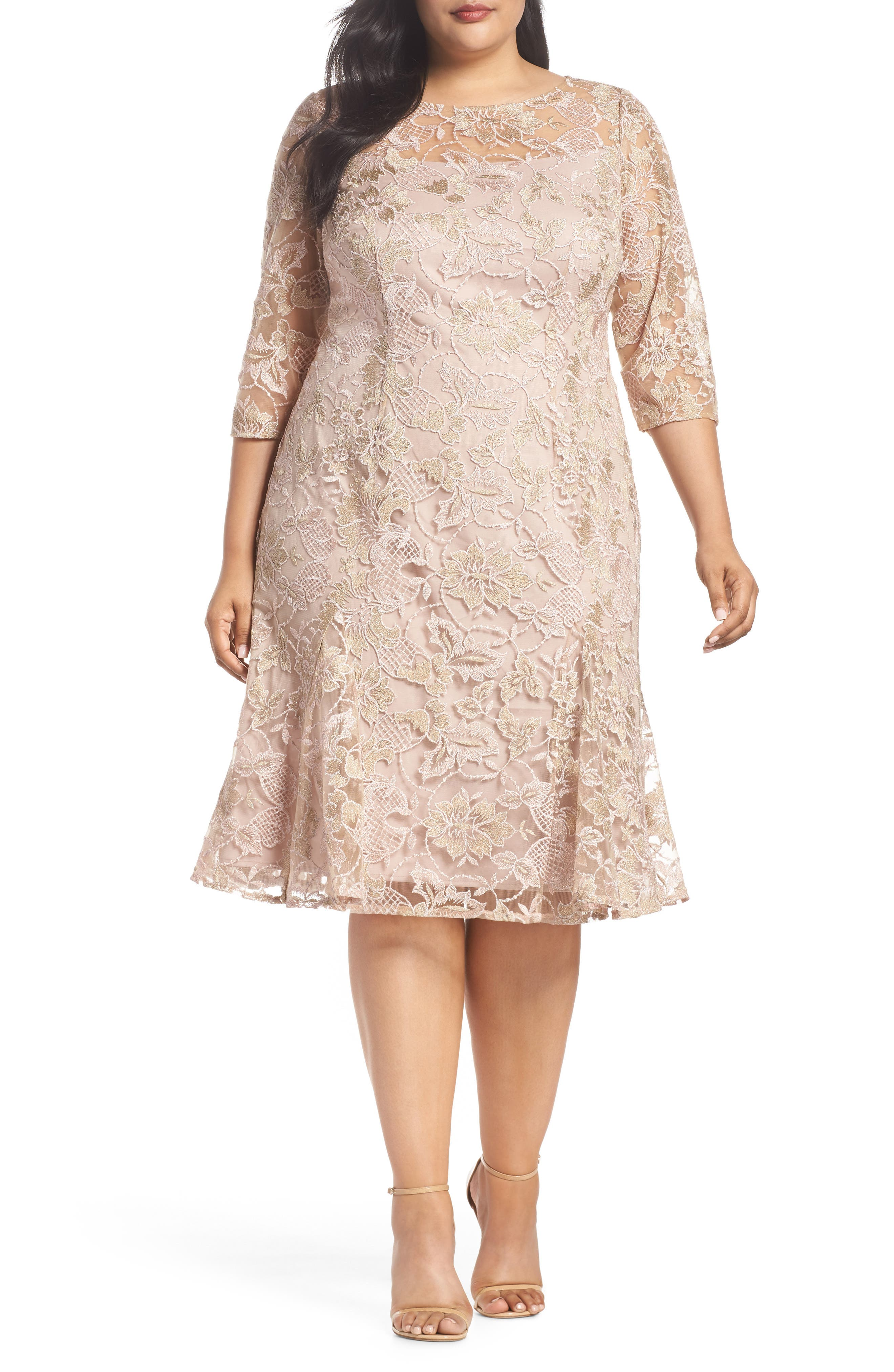 Embroidered Fit & Flare Dress,                             Main thumbnail 1, color,                             NUDE MULTI