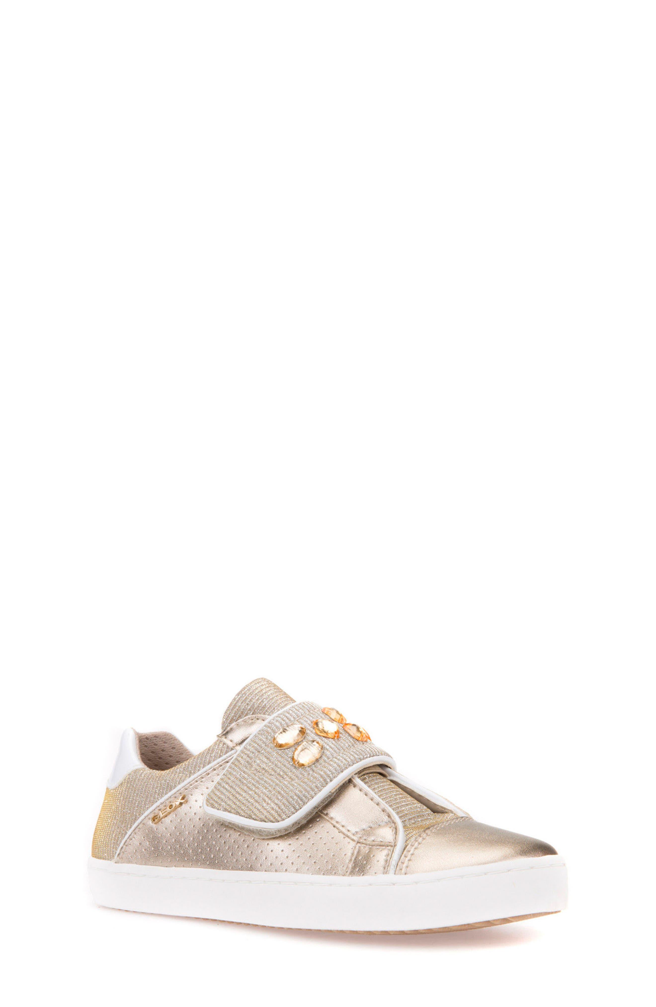 Kilwi Metallic Embellished Sneaker,                             Main thumbnail 1, color,                             GOLD