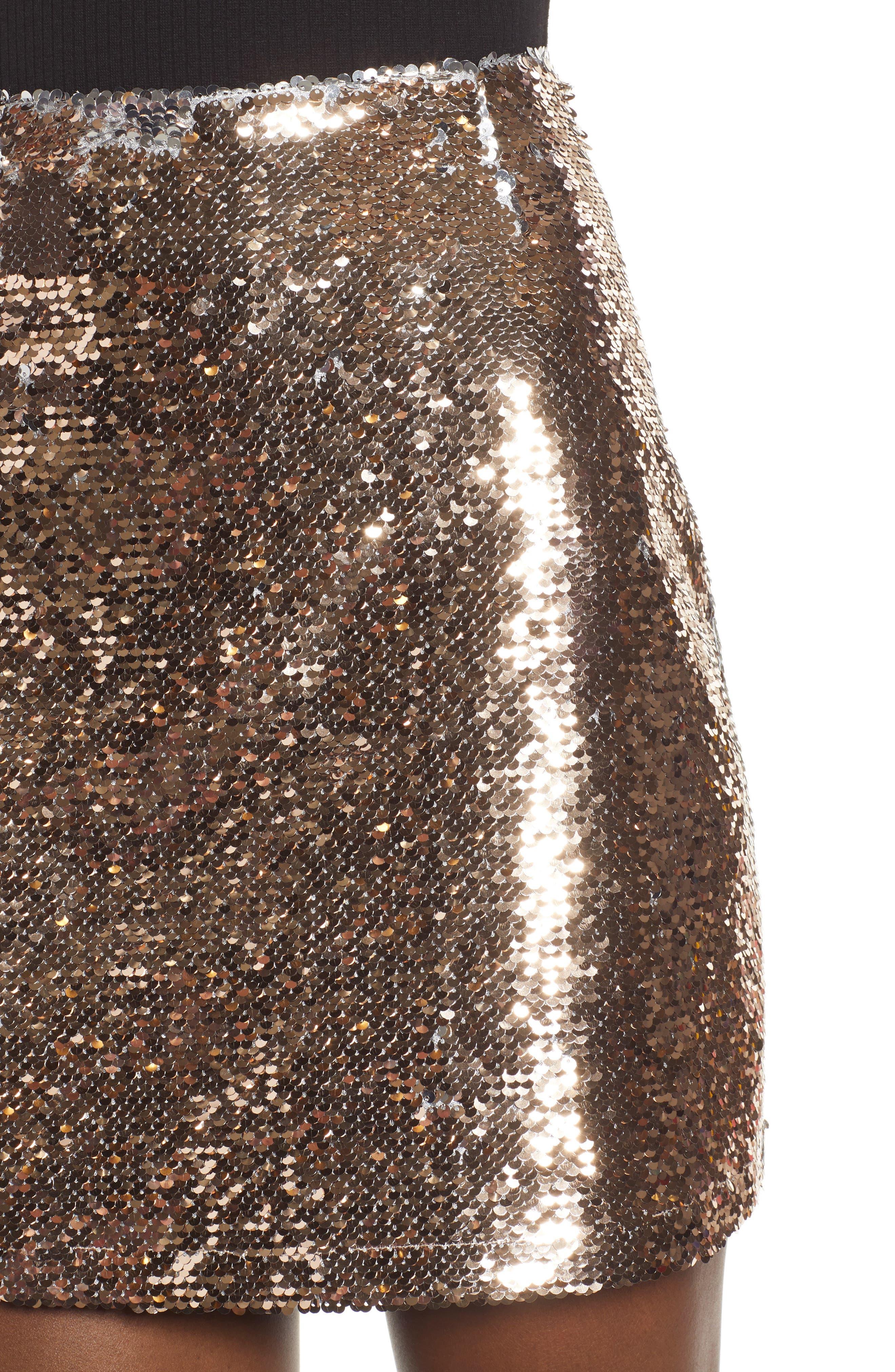 Sequin Miniskirt,                             Alternate thumbnail 4, color,                             ROSE