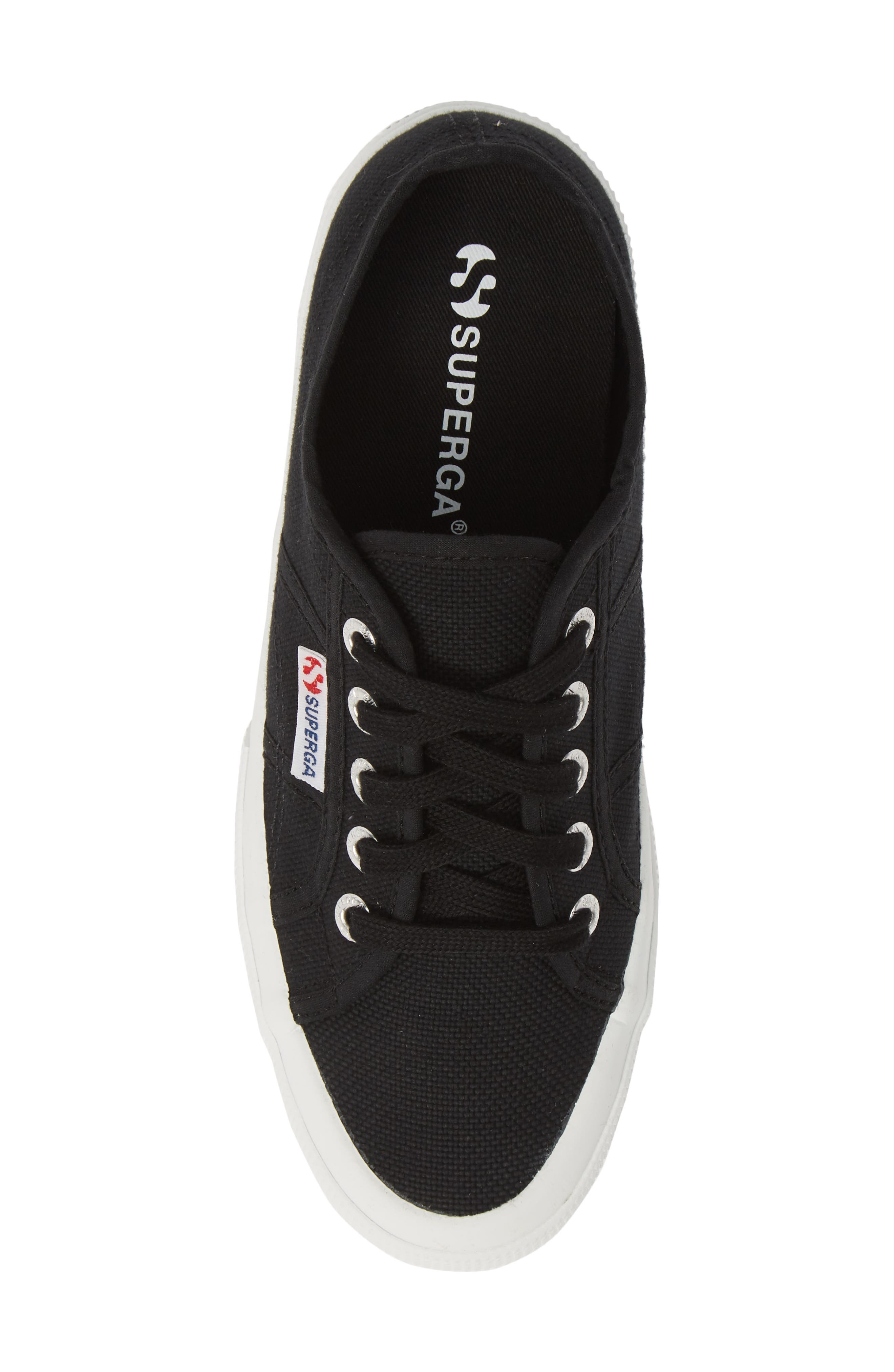 SUPERGA,                             'Linea' Wedge Sneaker,                             Alternate thumbnail 5, color,                             BLACK / WHITE