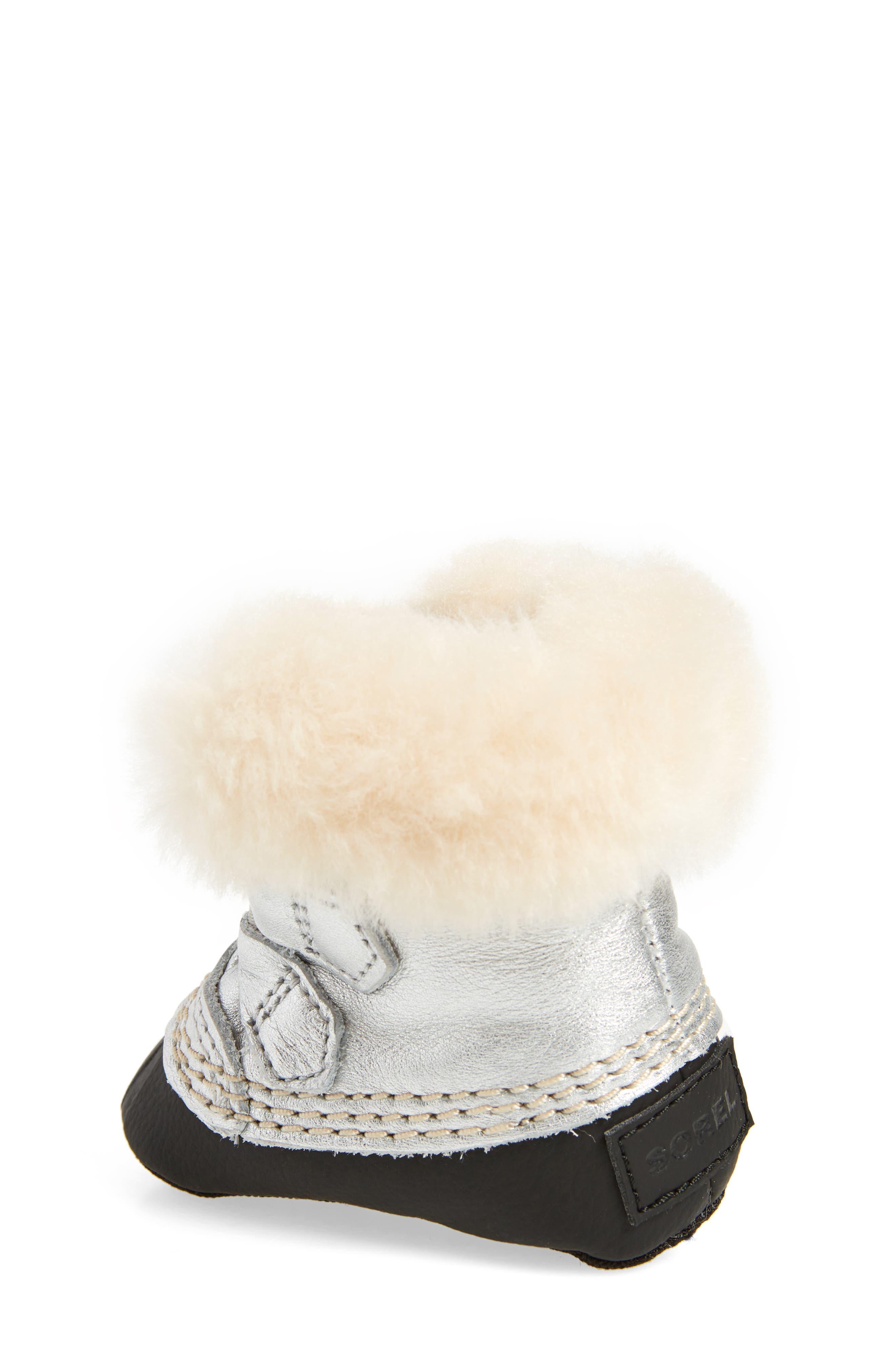 Caribootie Genuine Shearling Crib Shoe,                             Alternate thumbnail 8, color,