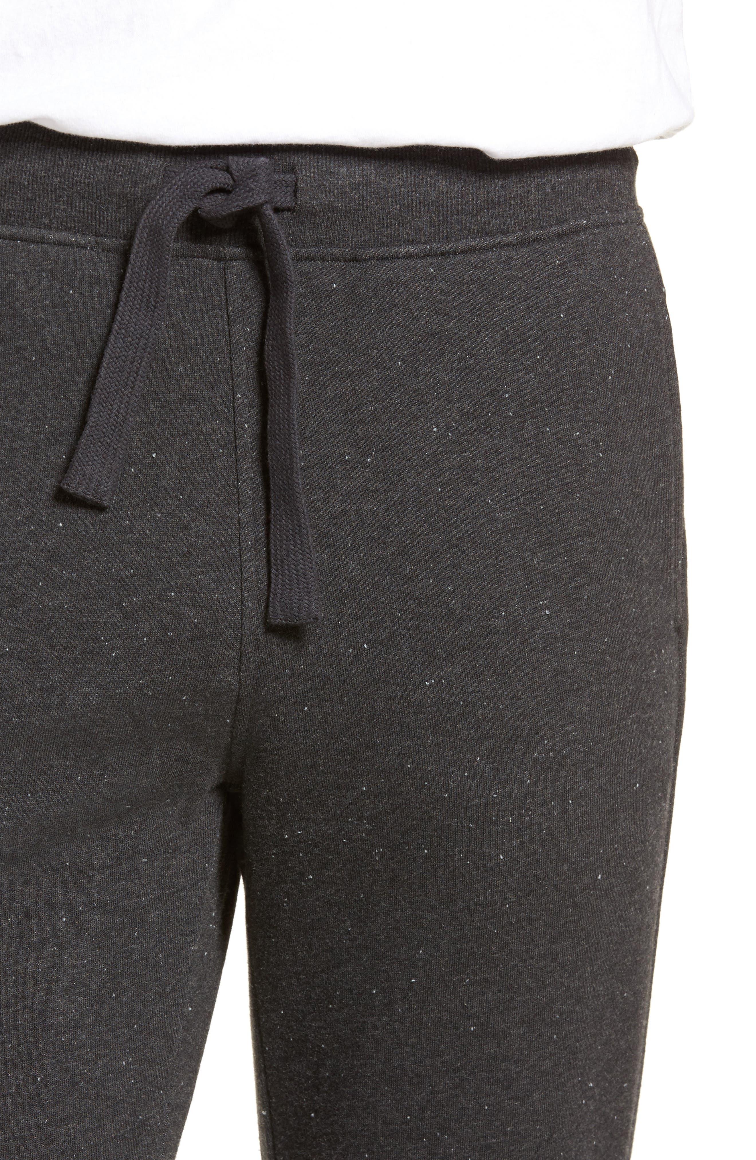 Wyatt Terry Cotton Blend Lounge Pants,                             Alternate thumbnail 4, color,                             BLACK