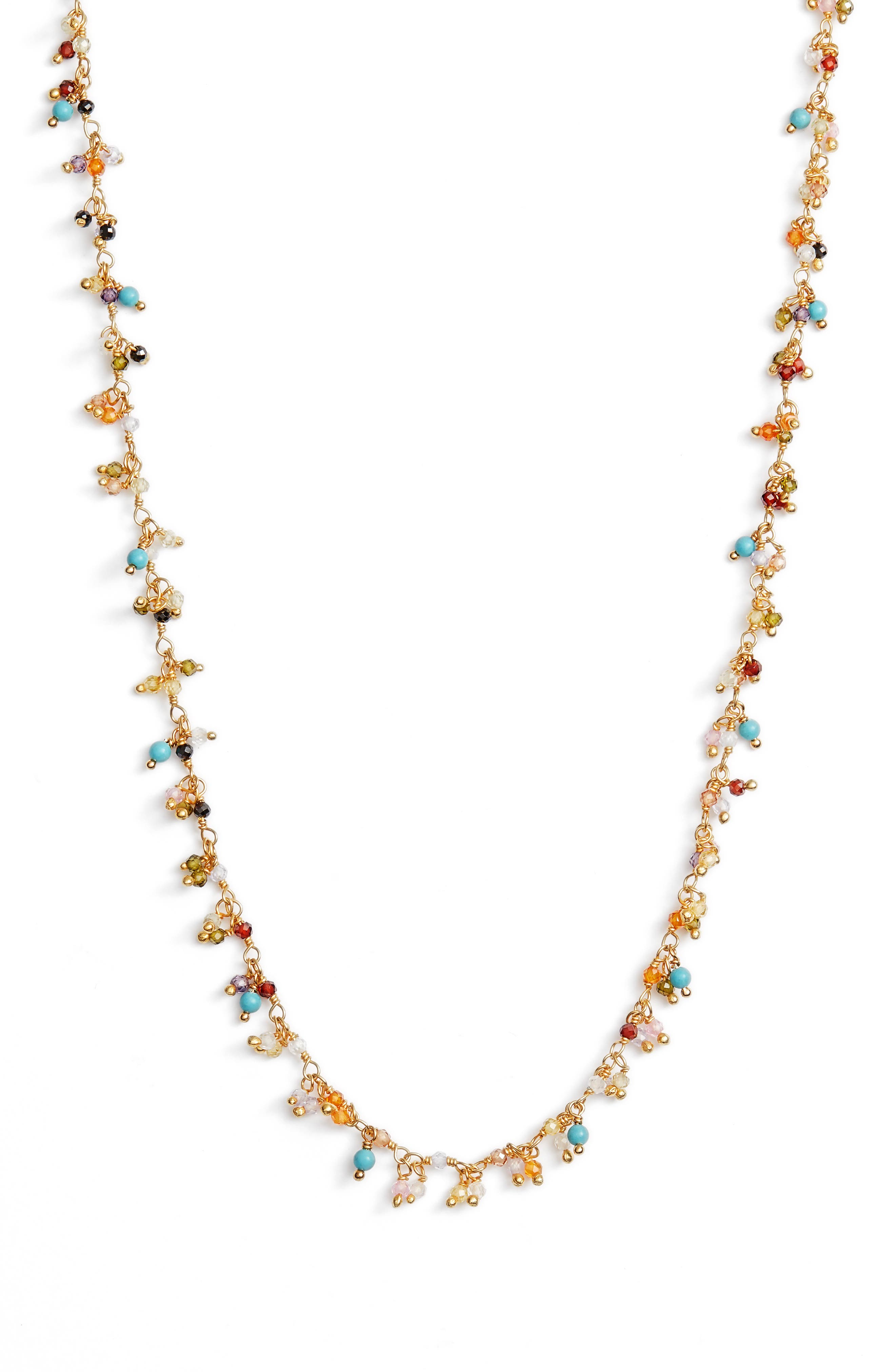 Mixed Crystal Necklace,                         Main,                         color, BEIGE MULTI