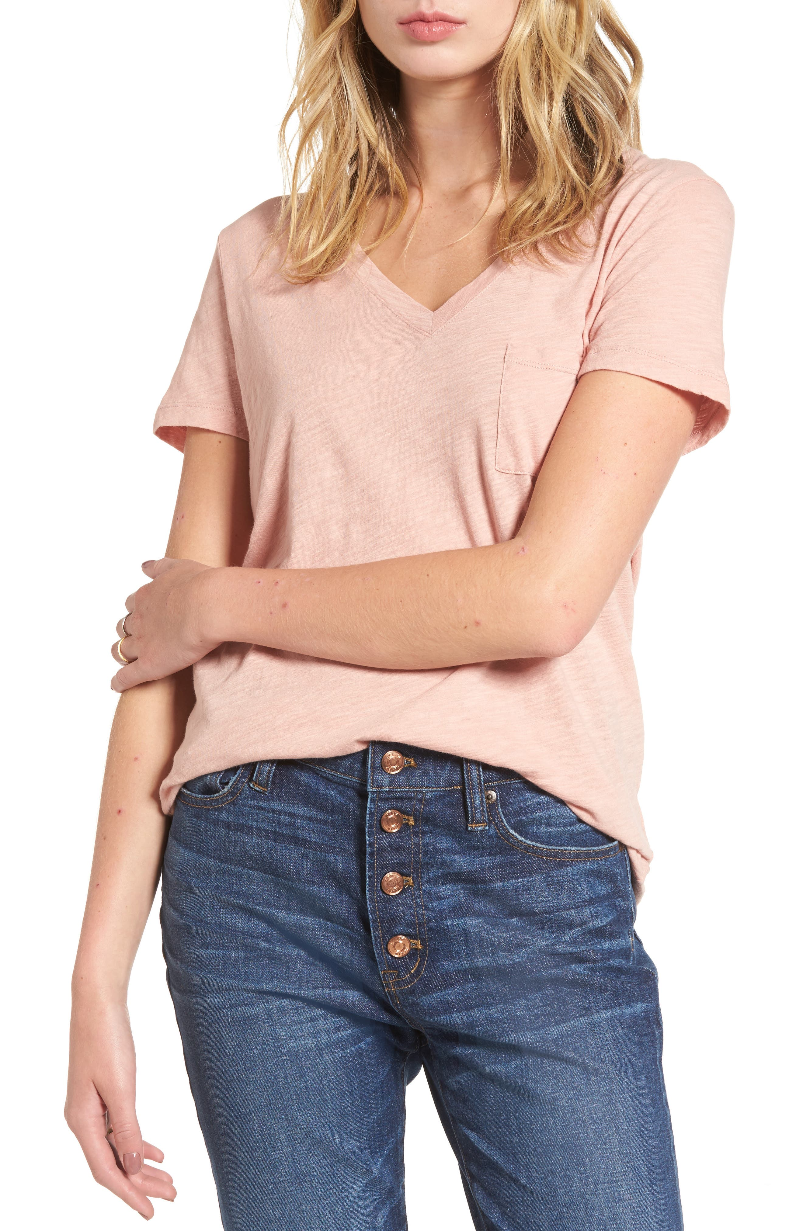 Whisper Cotton V-Neck Pocket Tee,                             Alternate thumbnail 47, color,