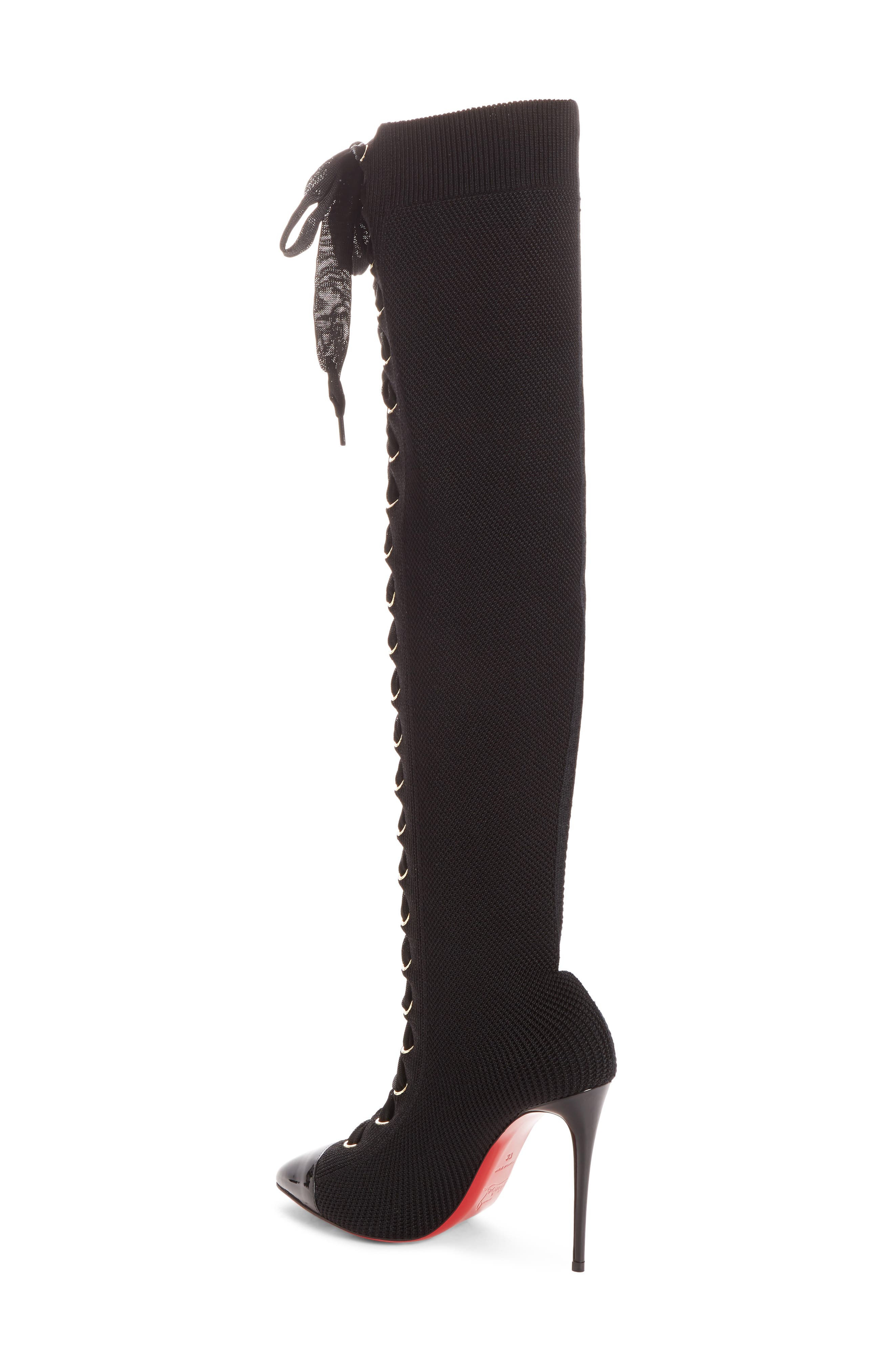 CHRISTIAN LOUBOUTIN,                             Frenchie Lace-Up Over the Knee Sock Boot,                             Alternate thumbnail 2, color,                             001