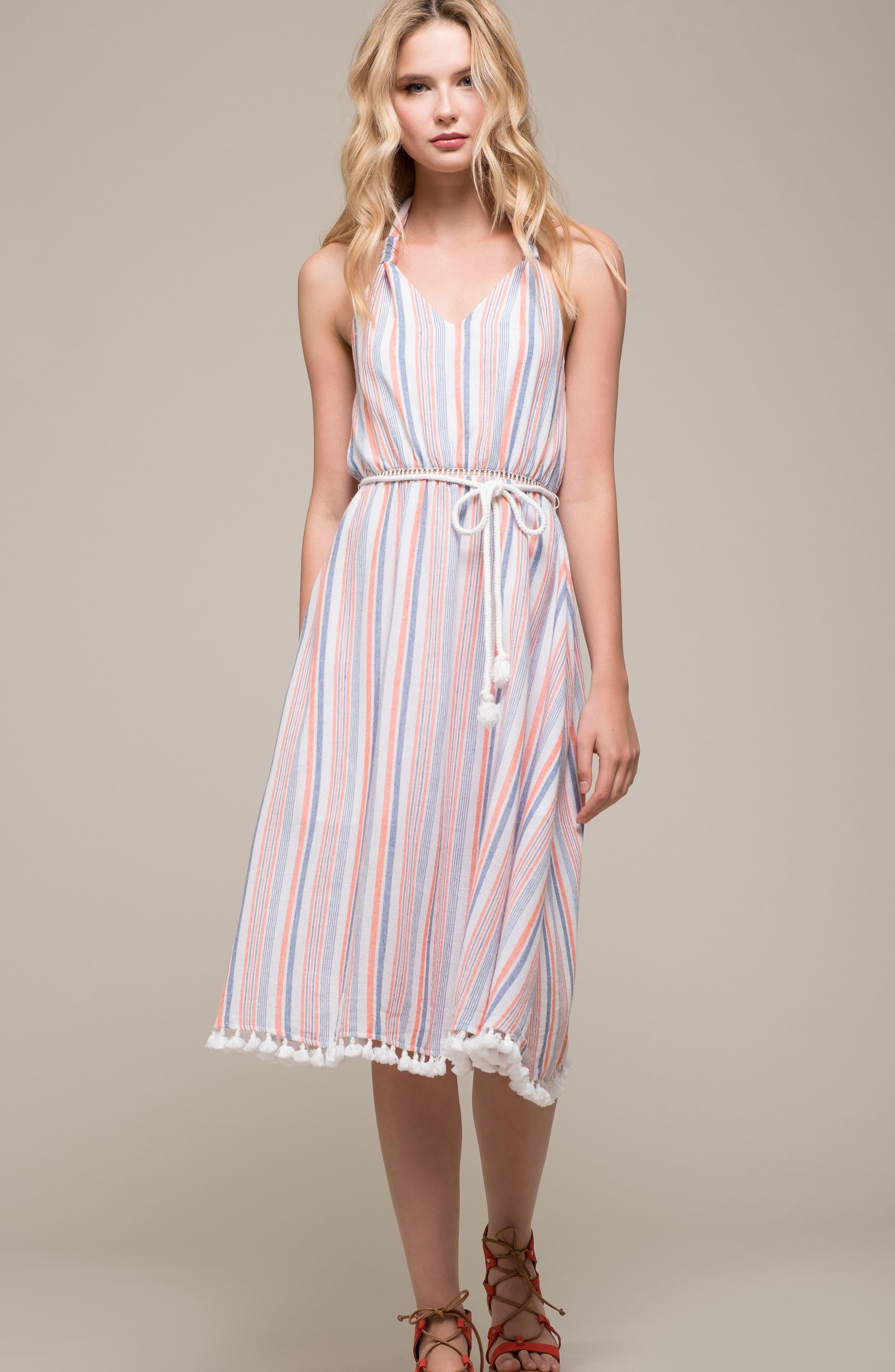 Stripe Halter Dress,                             Alternate thumbnail 7, color,                             951