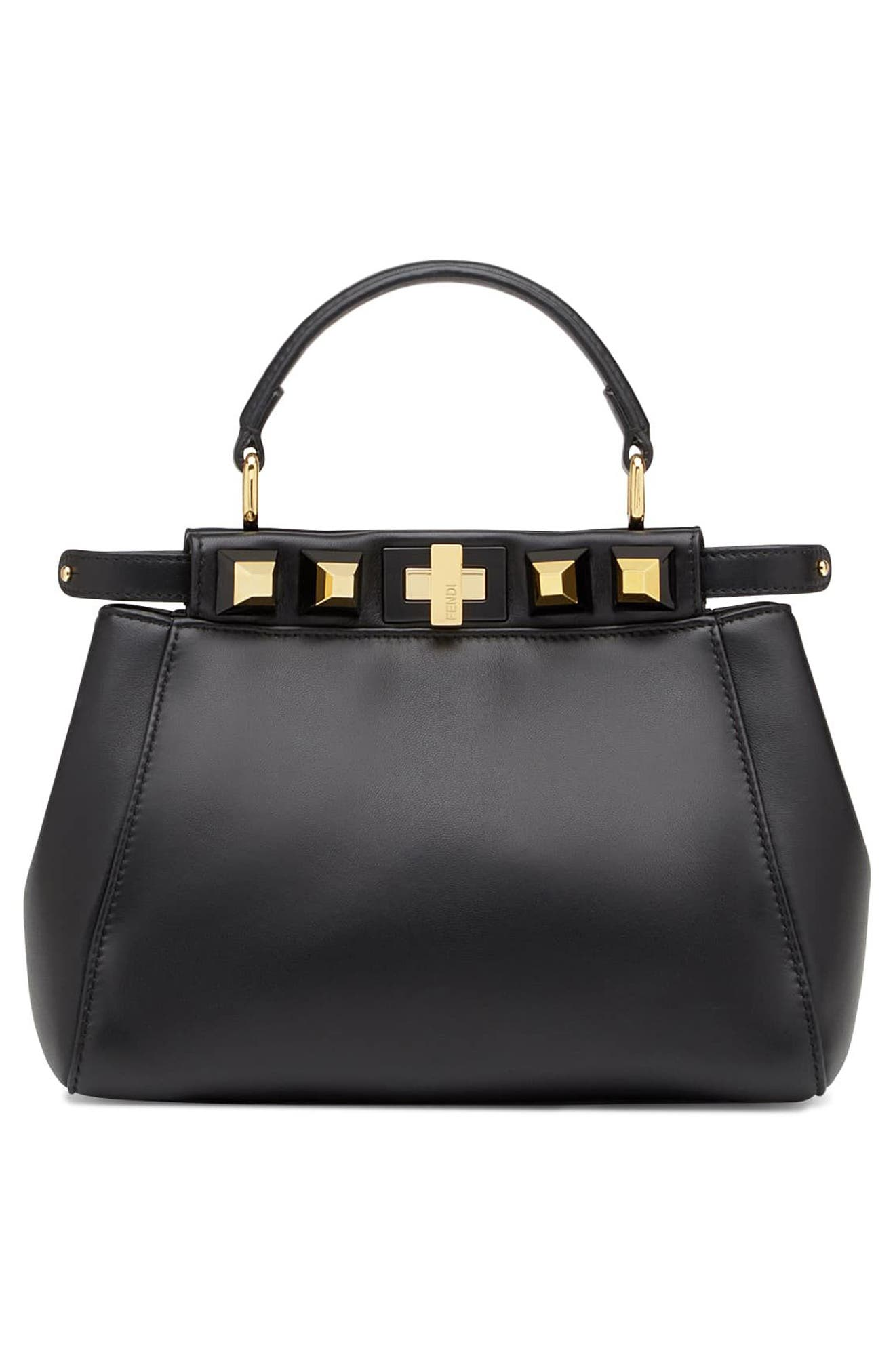 Mini Peekaboo Studded Leather Bag,                             Alternate thumbnail 3, color,                             006