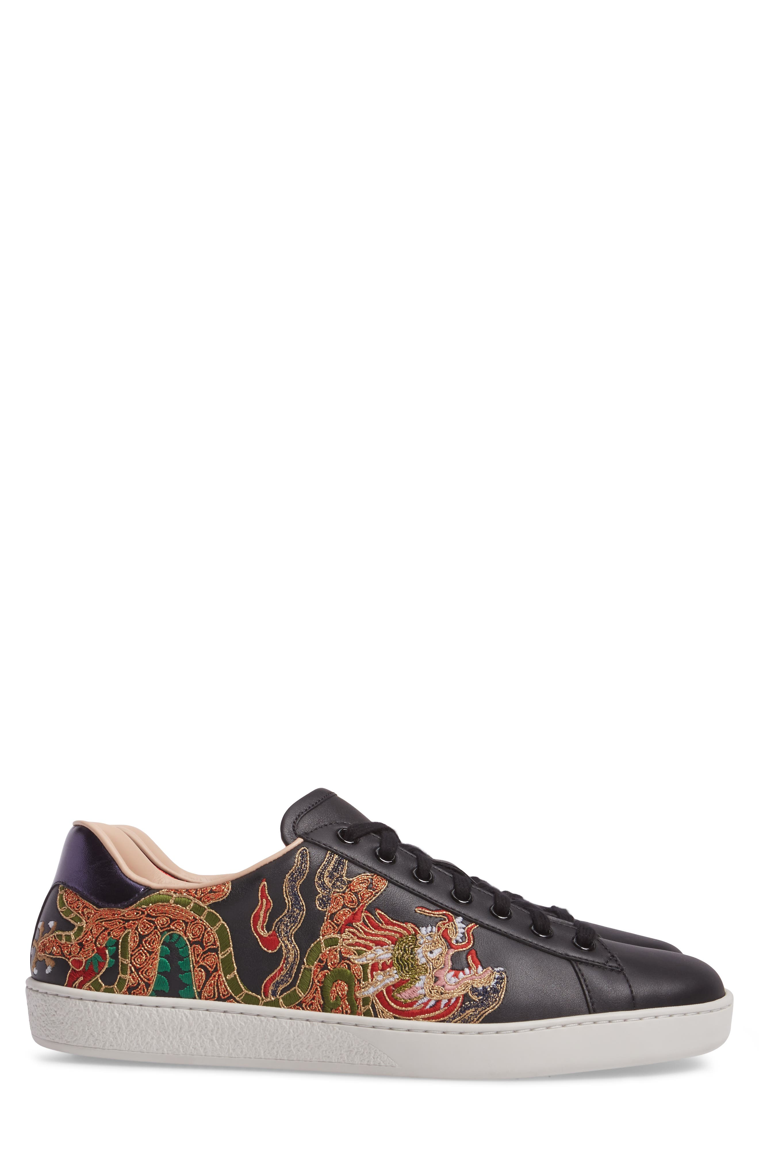 New Ace Embroidered Sneaker,                             Alternate thumbnail 3, color,                             009