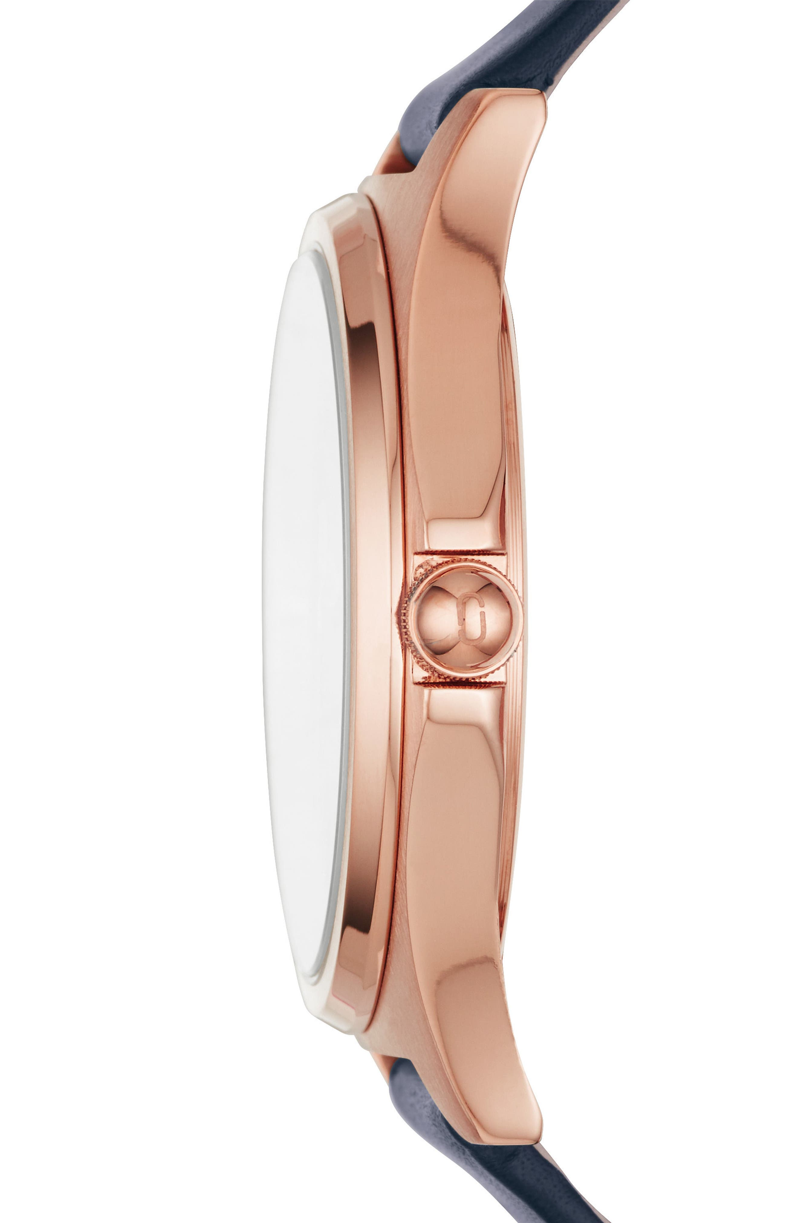 Henry Leather Strap Watch, 38mm,                             Alternate thumbnail 2, color,                             BLUE/ WHITE/ ROSE GOLD