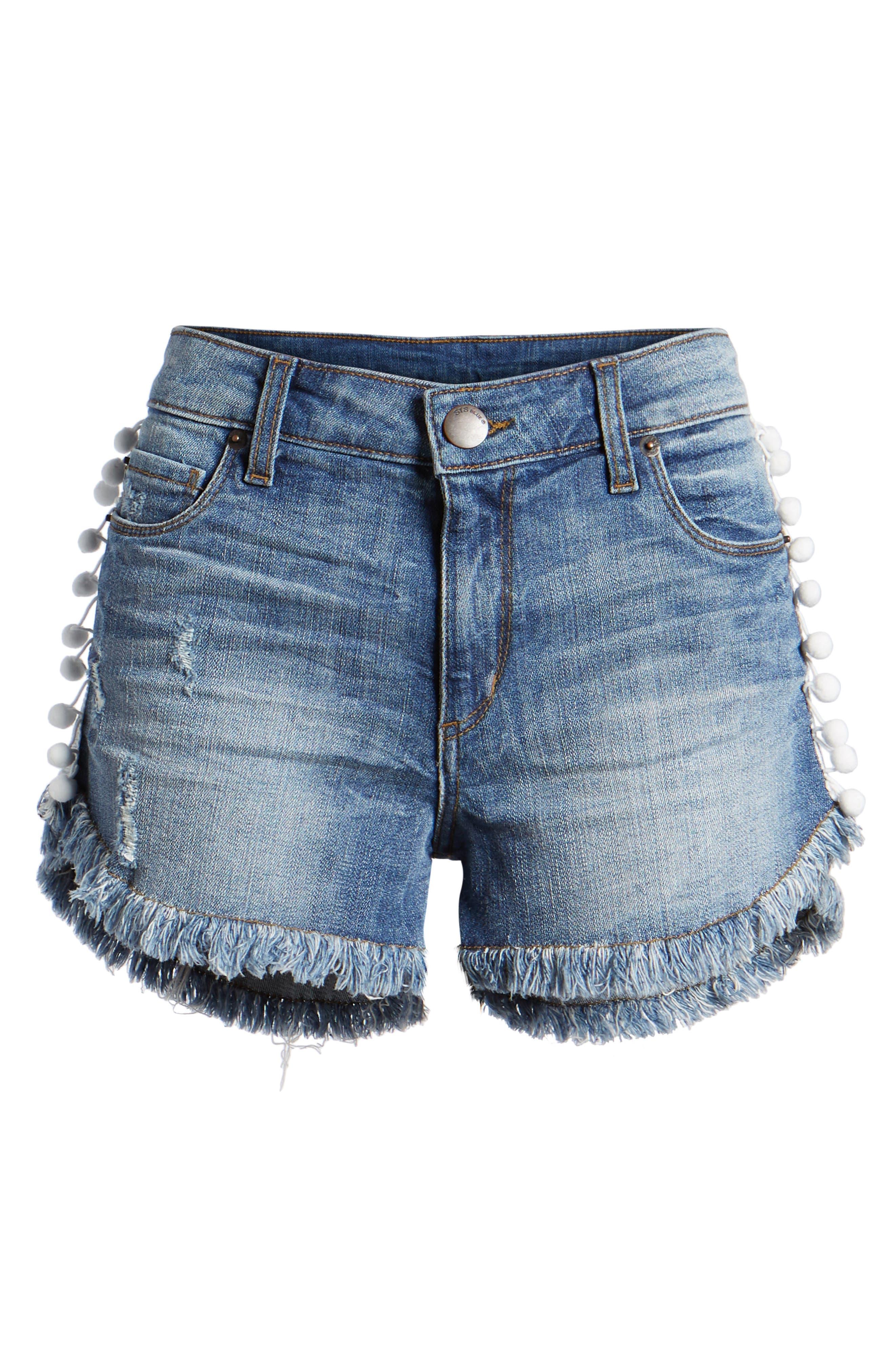Fray Hem Pompom Denim Shorts,                             Alternate thumbnail 7, color,                             400
