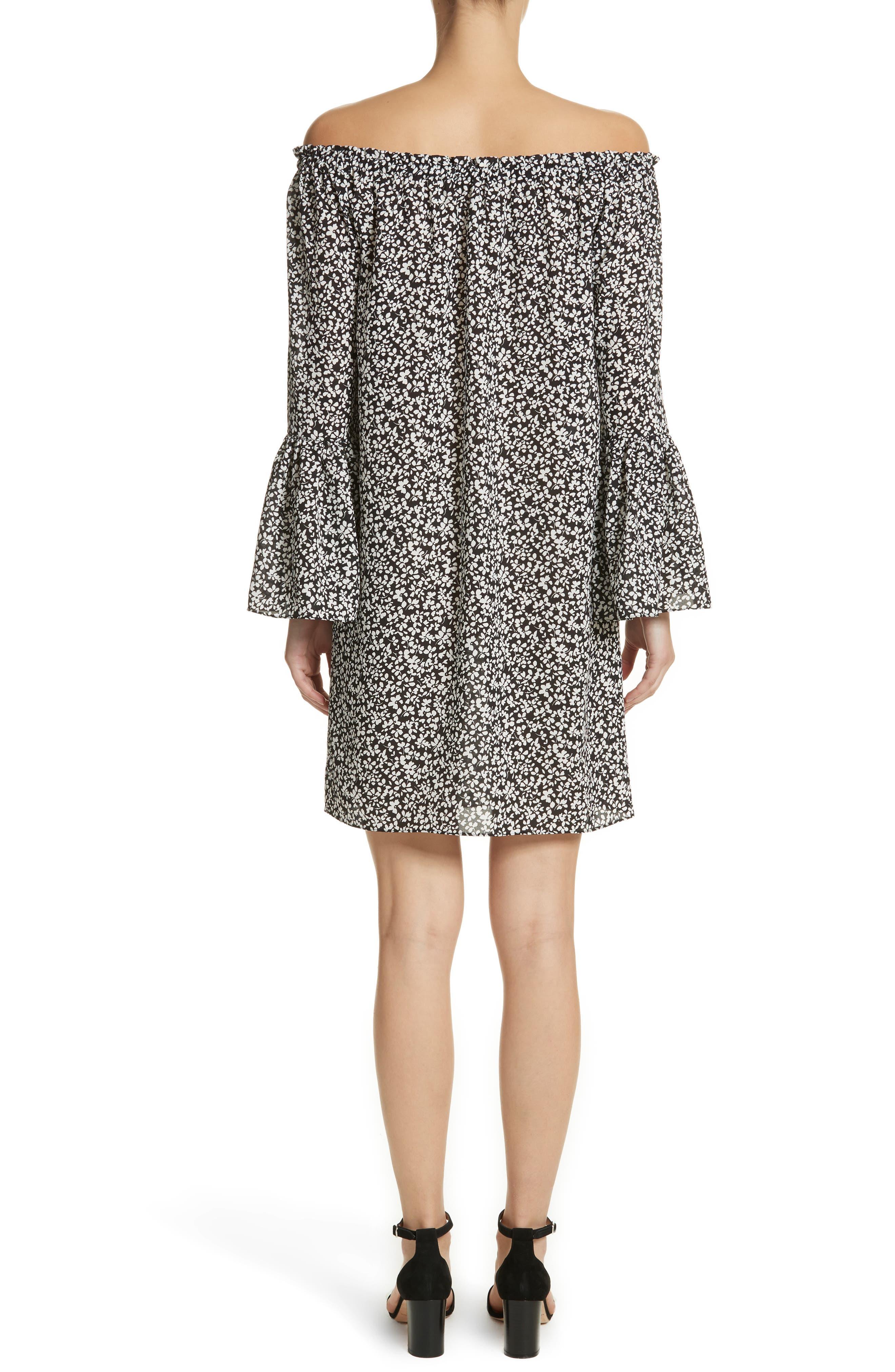 Print Silk Off the Shoulder Dress,                             Alternate thumbnail 2, color,                             003