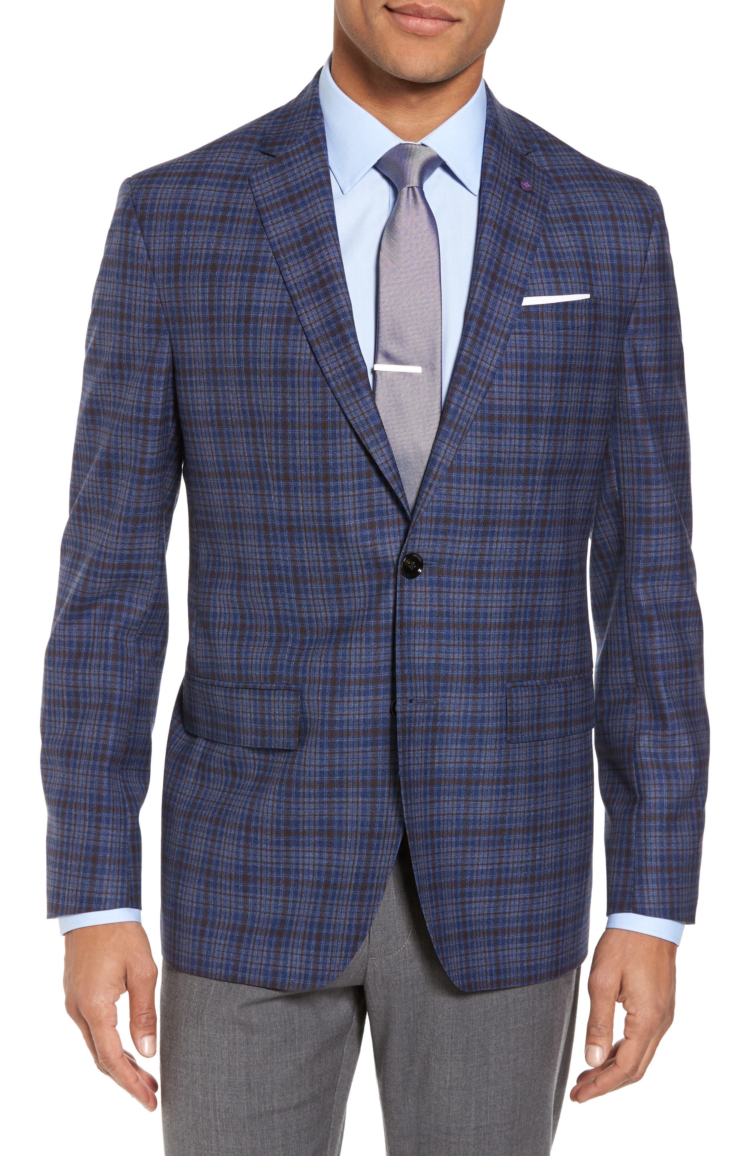 Konan Trim Fit Plaid Wool Sport Coat,                             Main thumbnail 1, color,