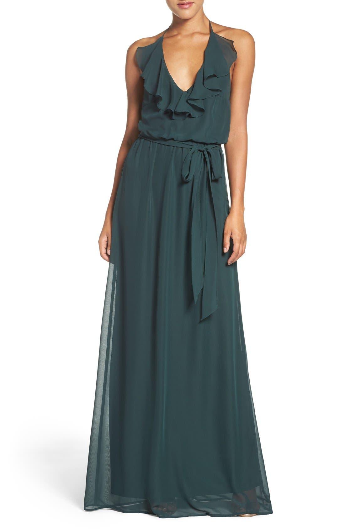 'Dani' Ruffle Neck V-Neck Halter Gown,                         Main,                         color,